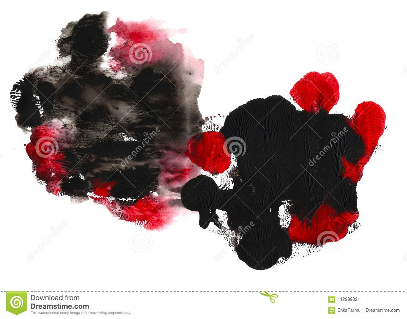 Abstract acrylic spot isolated on white background. Black, red vibrant color. Monotyped hand drawn grunge double spot