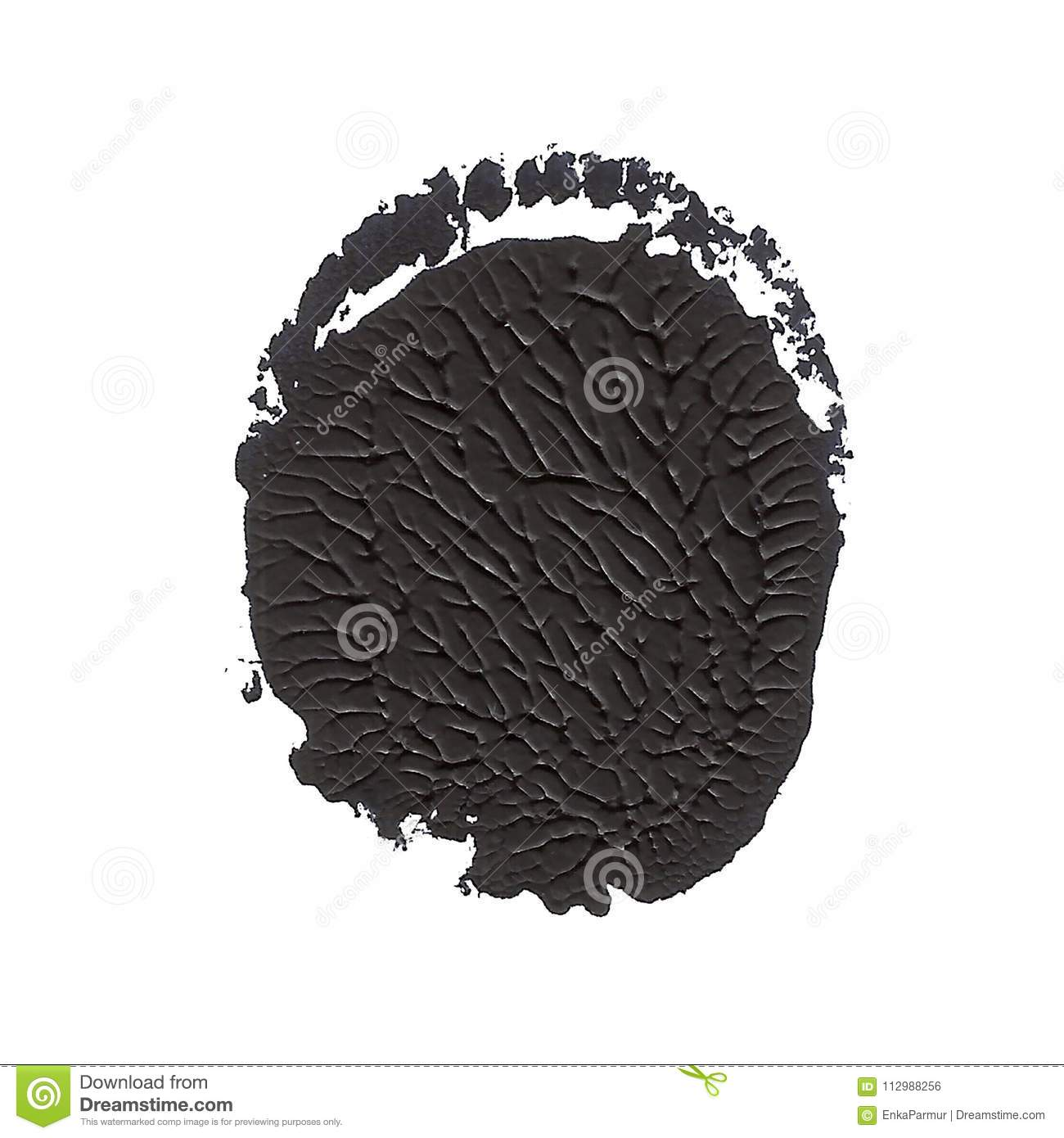 Abstract acrylic spot isolated on white background. Black textured color. Monotyped hand drawn grunge