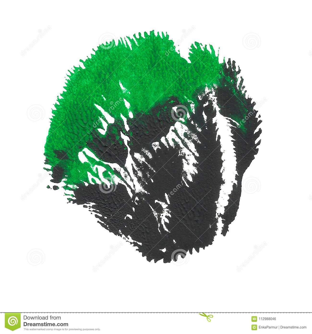 Abstract acrylic spot isolated on white background. Green black vibrant color.