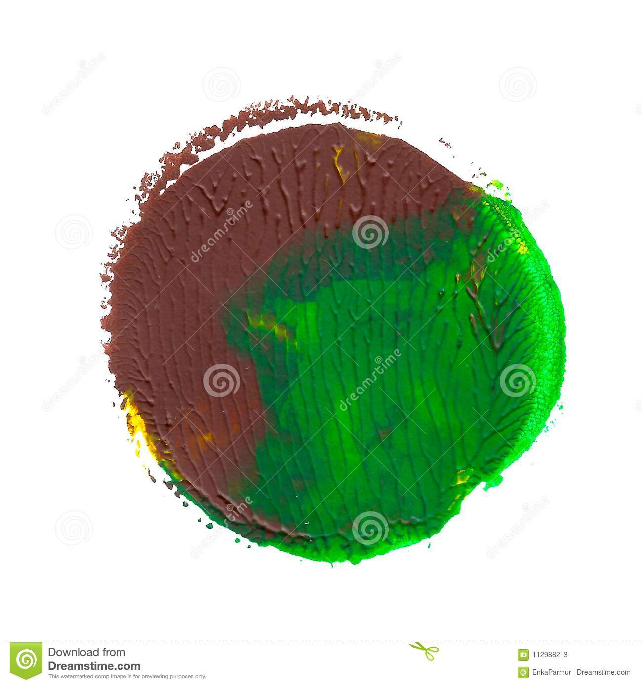 Abstract acrylic spot isolated on white background. Green, brown, yellow vibrant color.