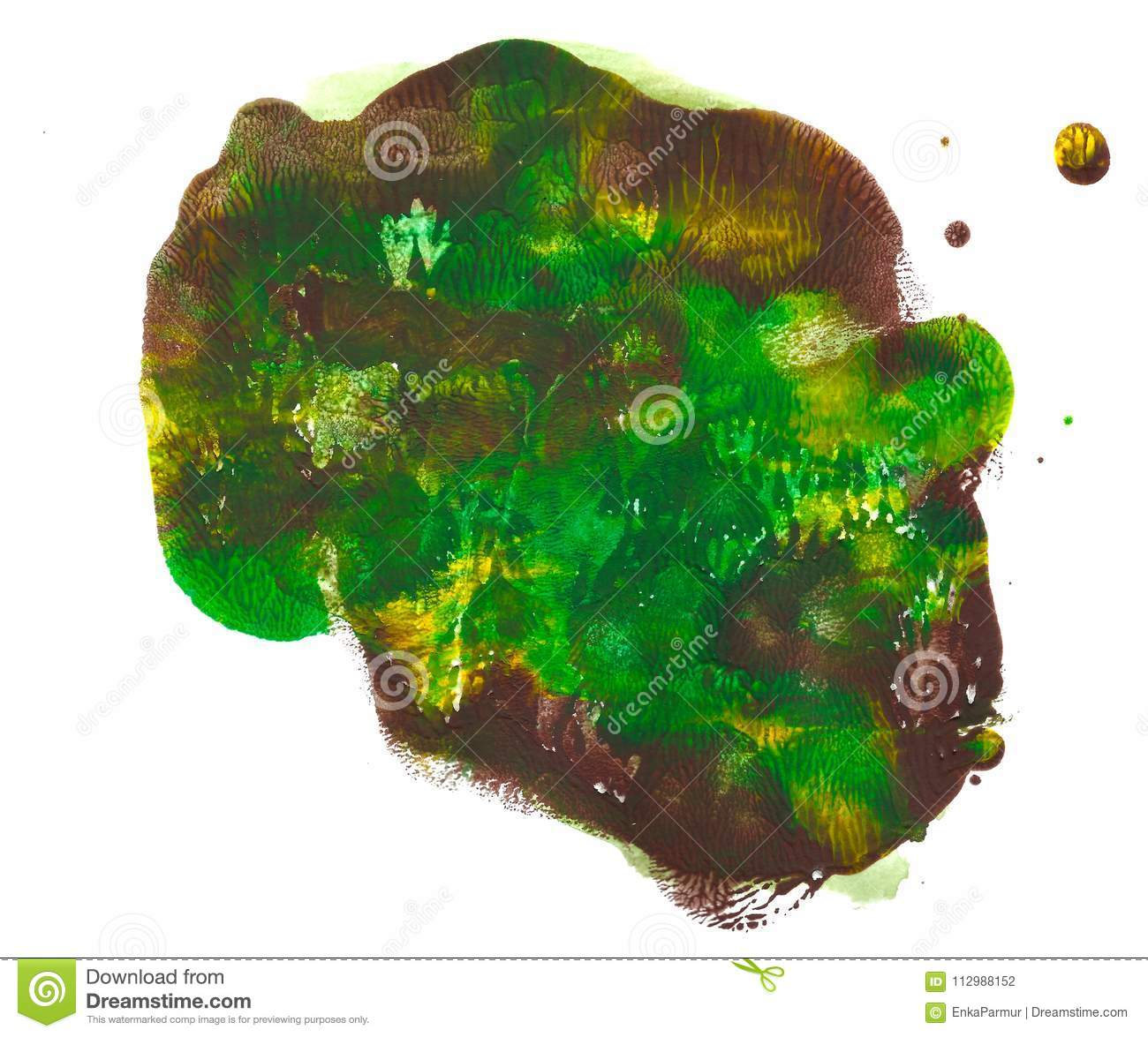 Abstract acrylic spot isolated on white background. Green, brown, yellow vibrant color. Monotyped hand drawn grunge
