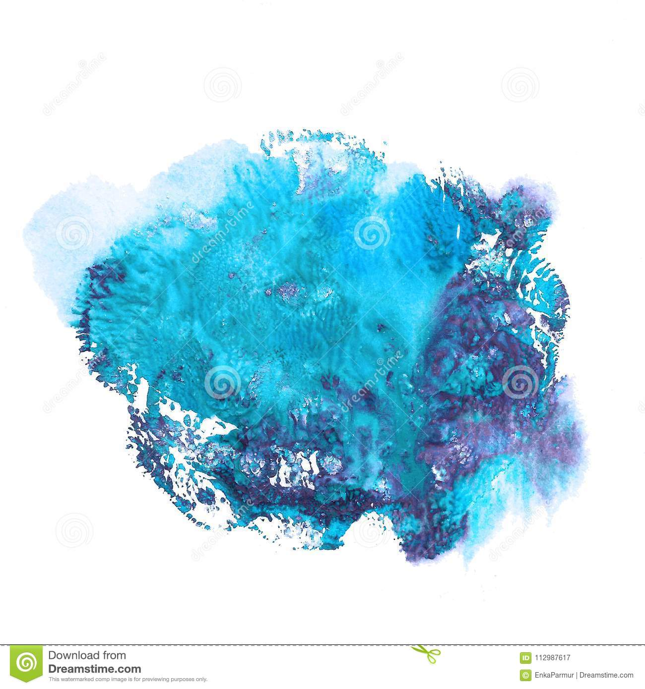 Abstract acrylic spot isolated on white background. Monotyped hand drawn grunge stain.