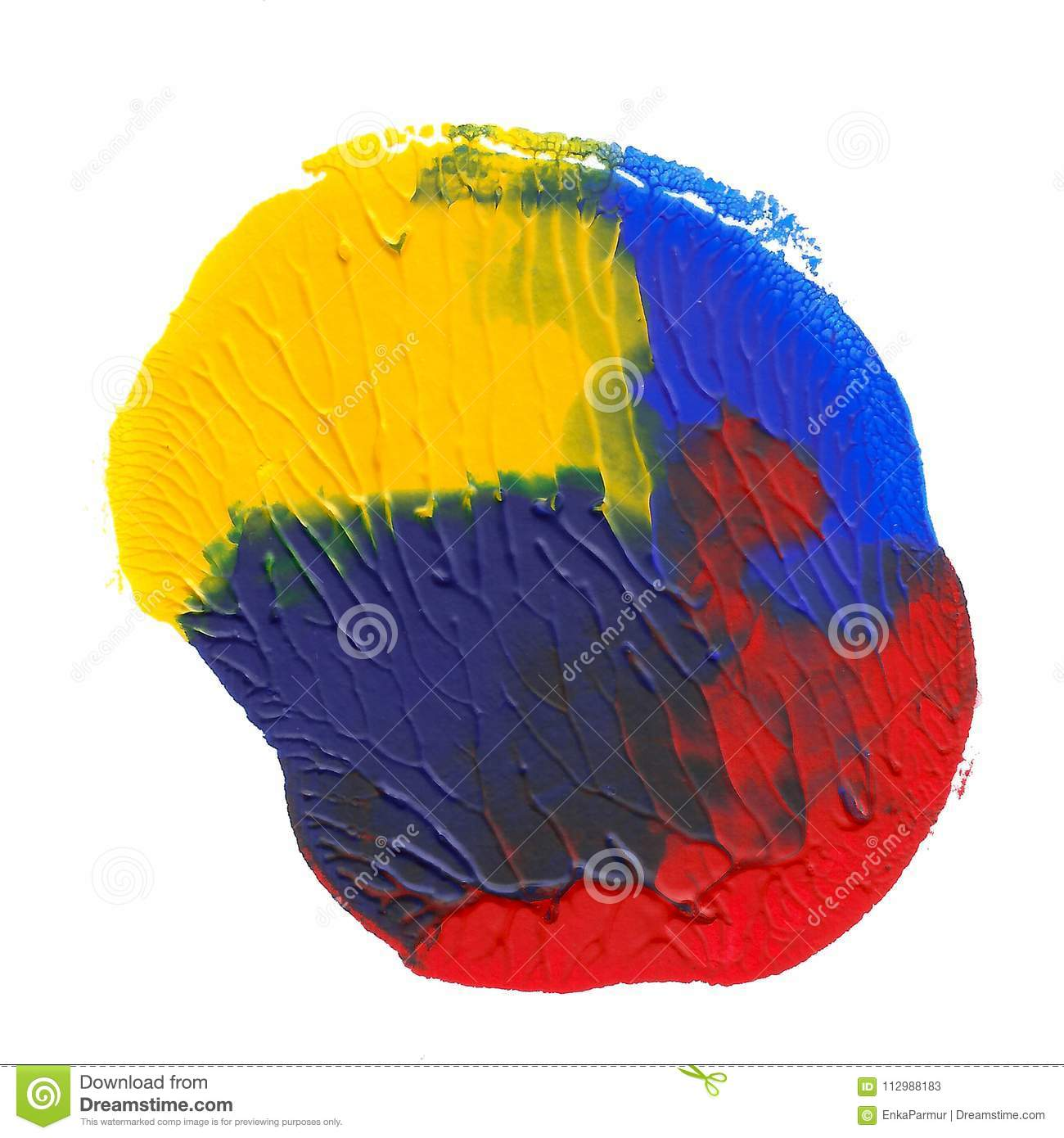 Abstract acrylic spot isolated on white background. Yellow, blue, red vibrant color. Monotyped hand drawn grunge