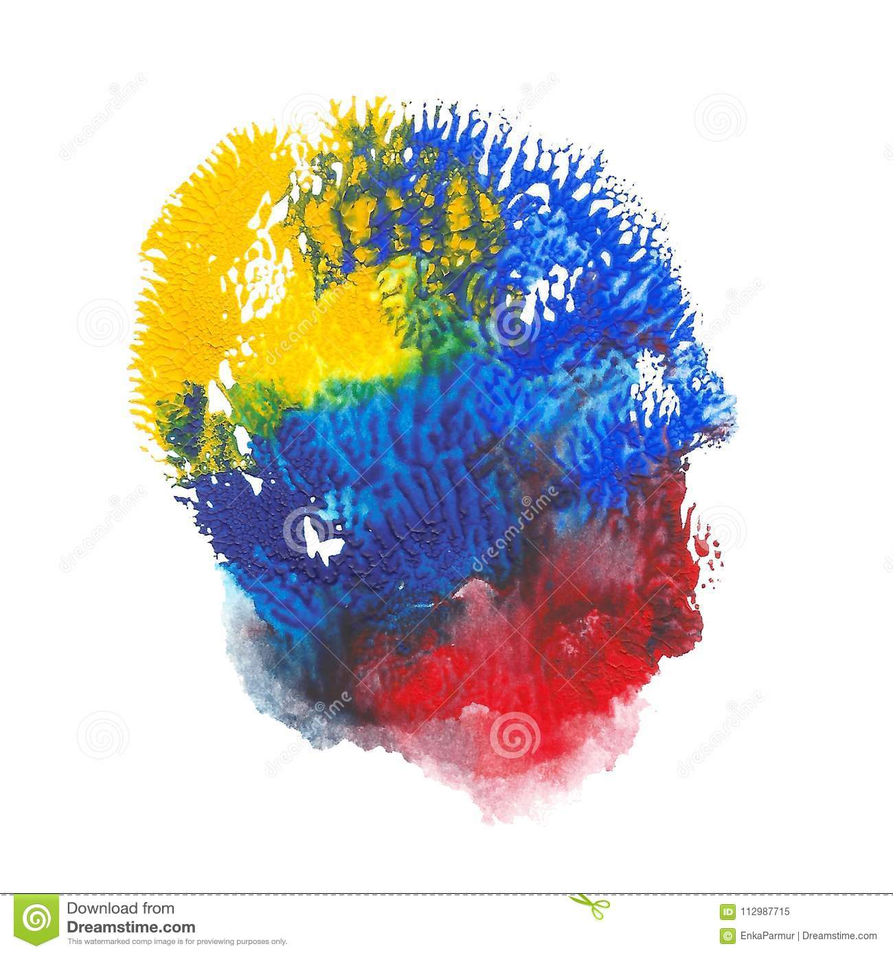 Abstract acrylic spot on white background. Red, blue, yellow vibrant color.