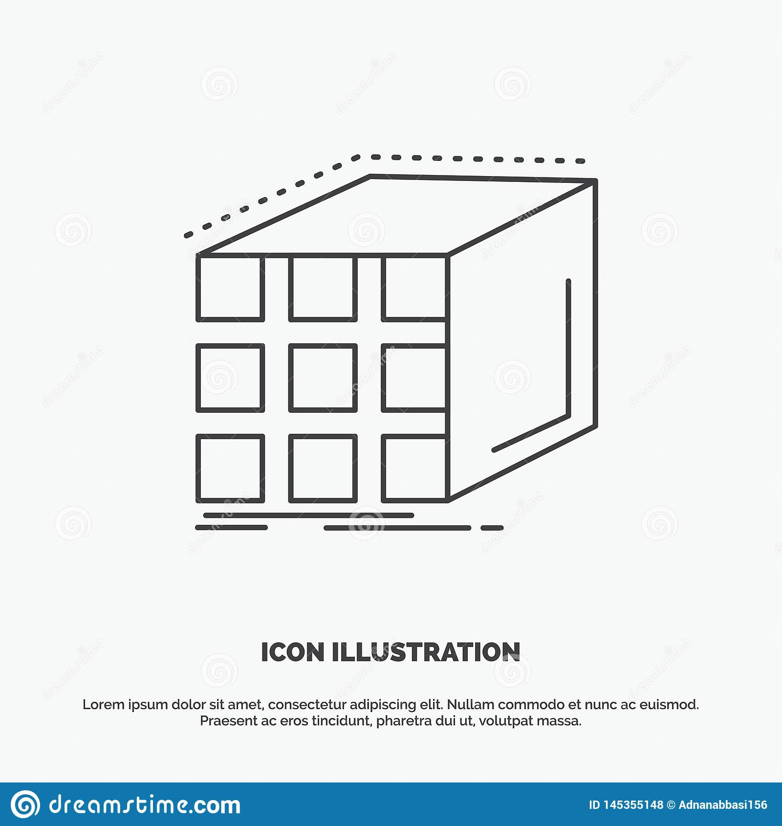 Abstract, aggregation, cube, dimensional, matrix Icon. Line vector gray symbol for UI and UX, website or mobile application. Vector EPS10 Abstract Template royalty free stock photos
