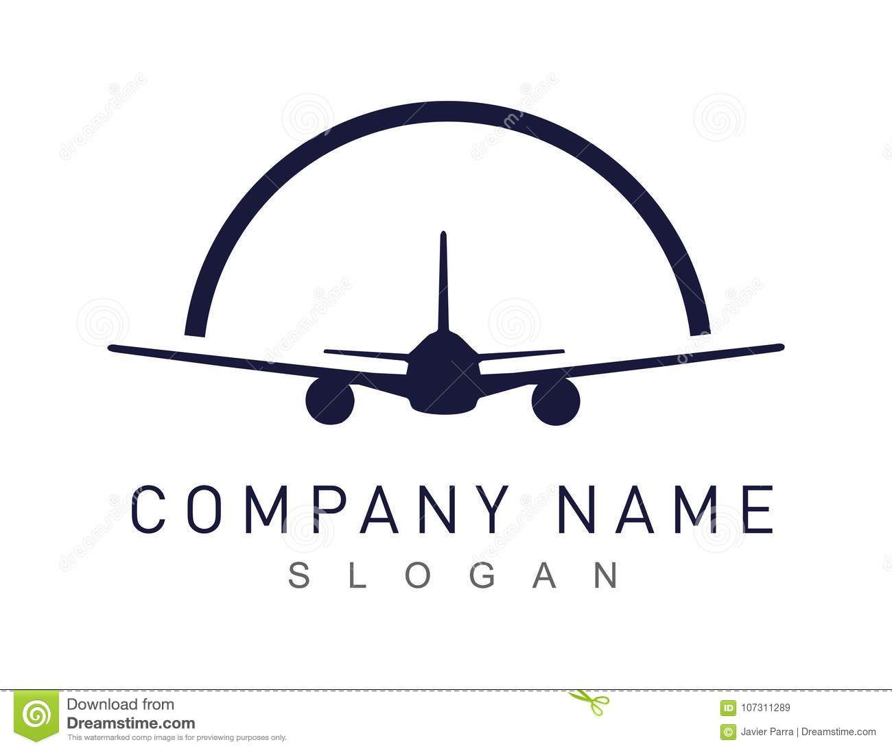 Abstract airplane logo on a white background