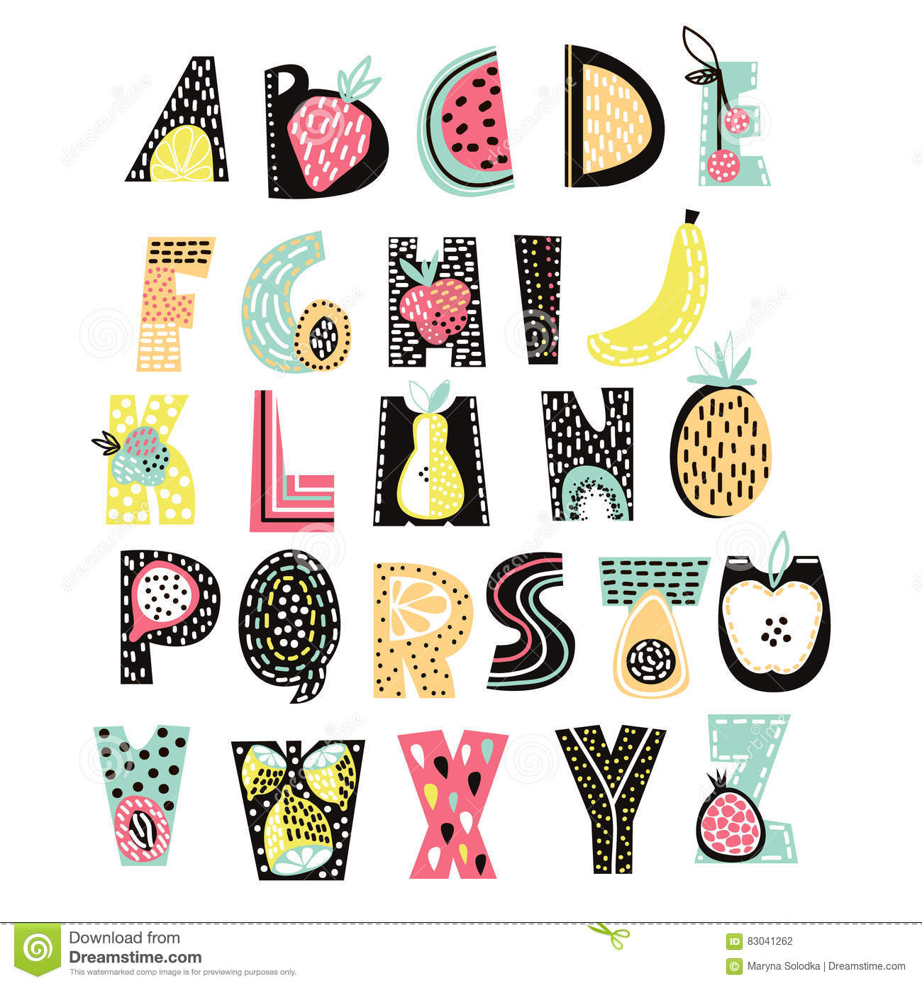 Abstract Alphabet Fruit. Creative Kids Font. Great For