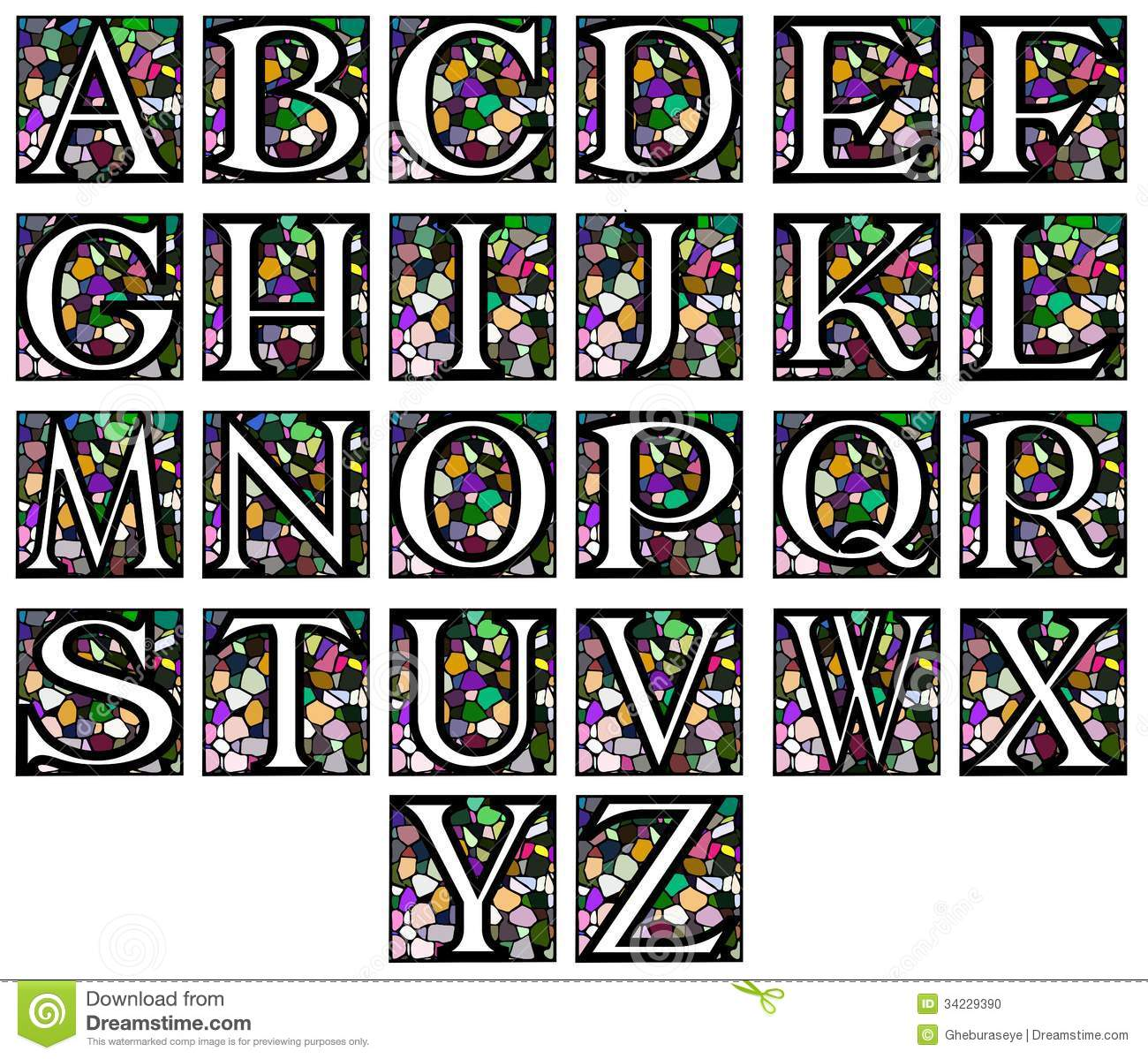 Abstract Alphabet In Mosaic Stock Vector - Illustration of