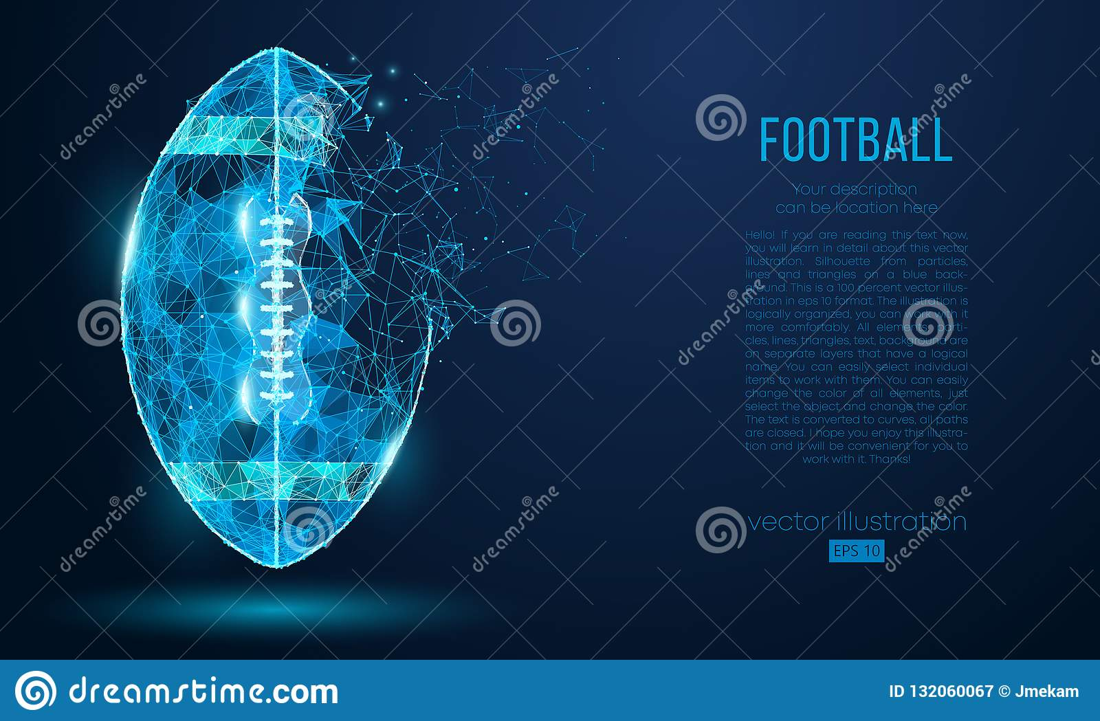 Abstract American football ball from particles, lines and triangles on blue background. Cyber technology rugby. Vector