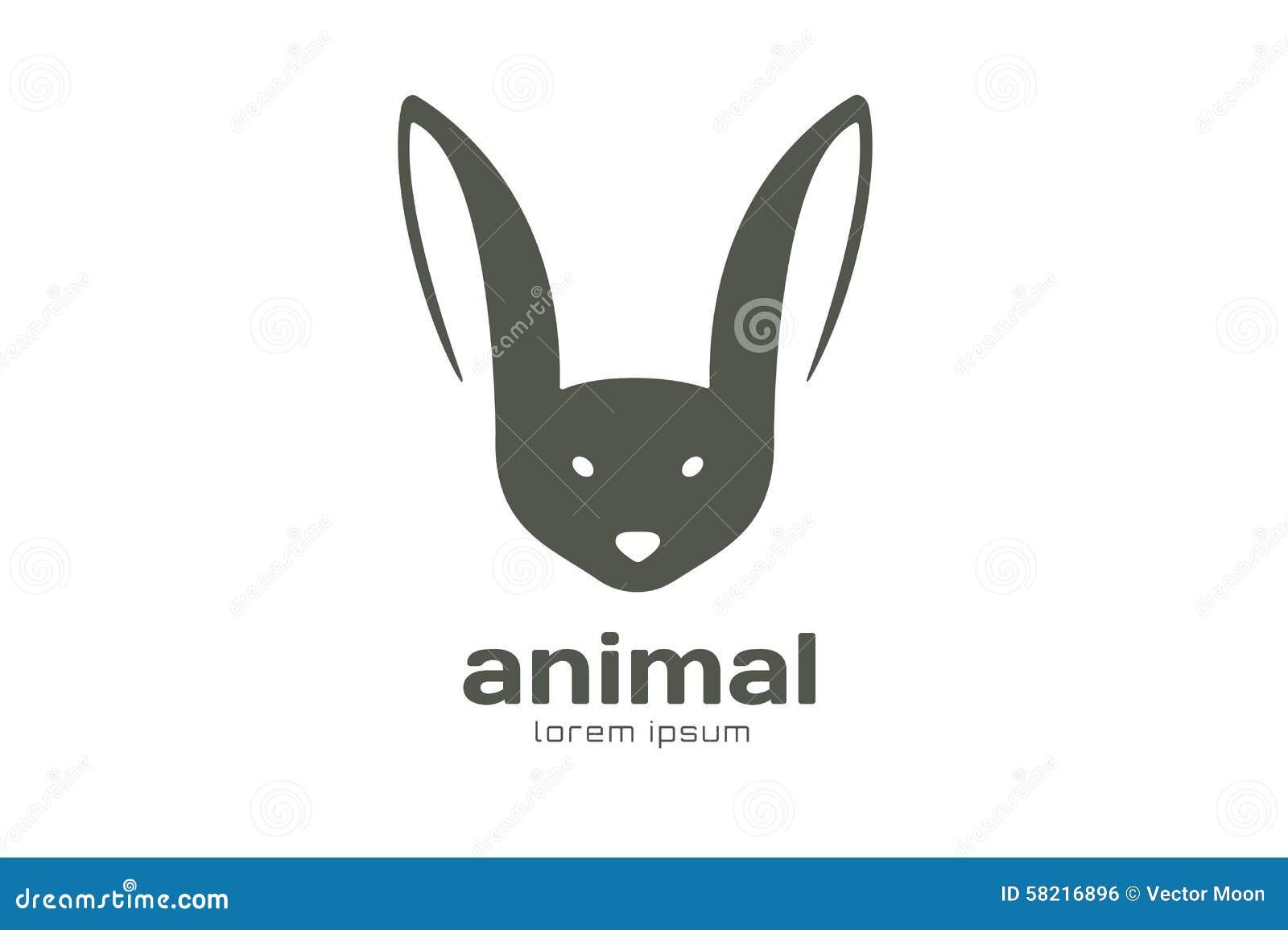 abstract animal face logo template rabbit stock illustration