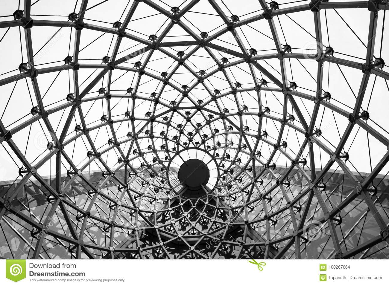 Abstract architectural background swirl steel beam glass roof