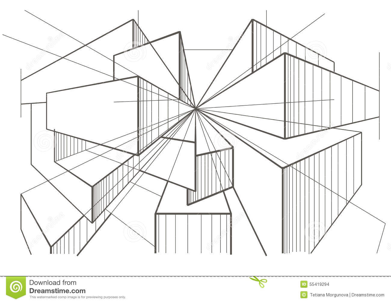 abstract architectural sketch of boxes in perspective. Black Bedroom Furniture Sets. Home Design Ideas