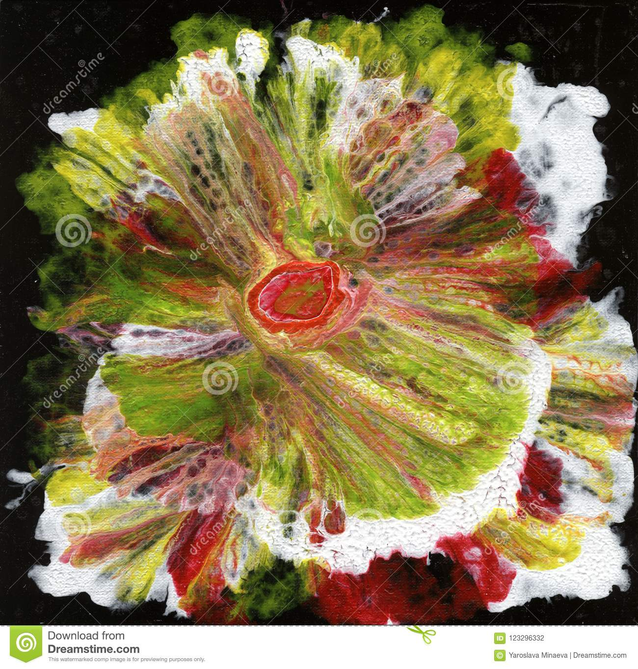 Abstract Art Abstract Flower Flower On A Black Background