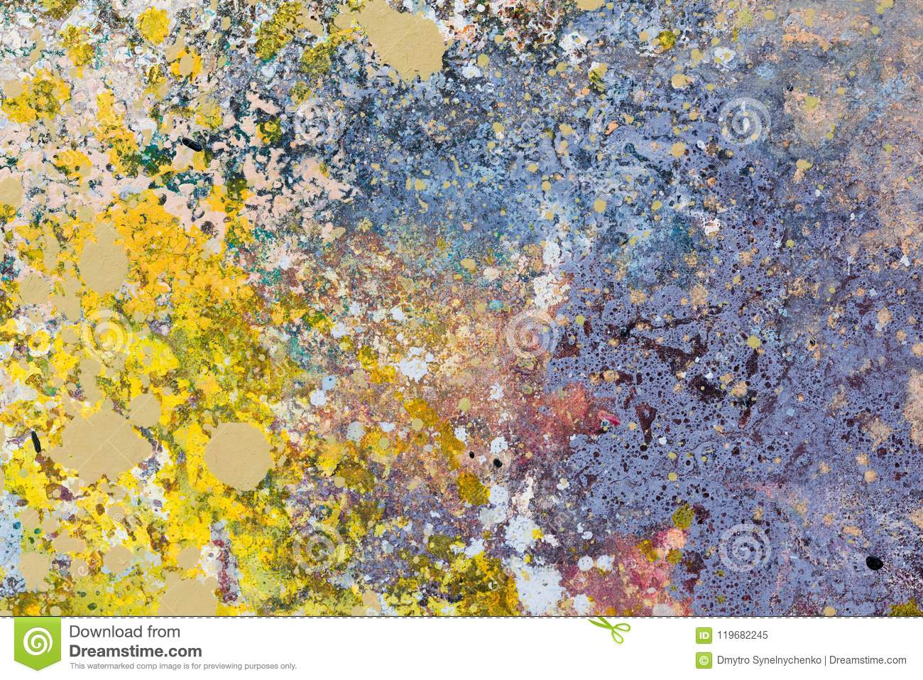 Abstract art background oil painting on canvas blue and yellow