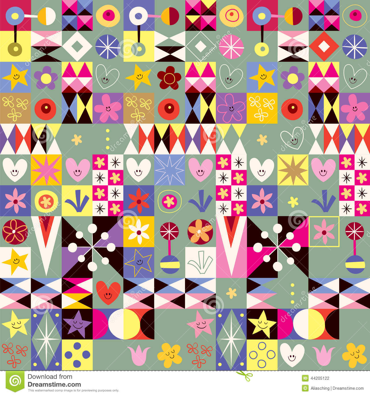 Abstract art hearts flowers cute pattern stock vector for Cute abstract art