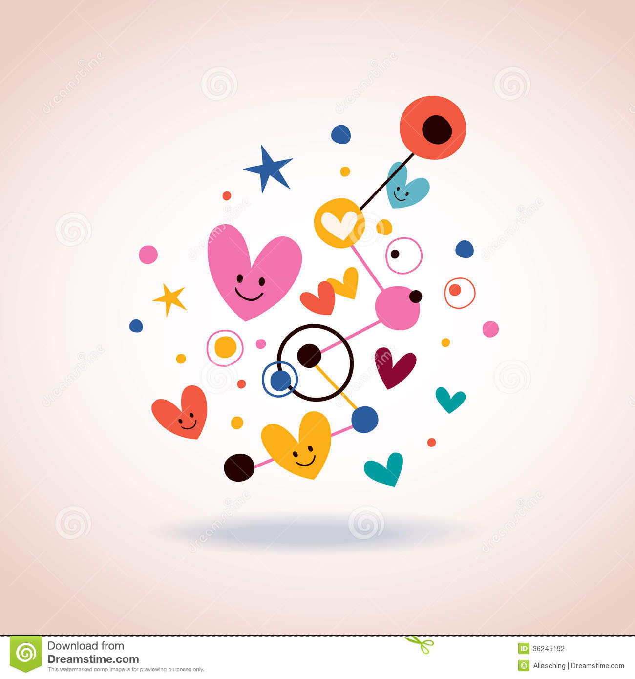 Abstract art illustration with cute hearts and dots stock for Cute abstract art