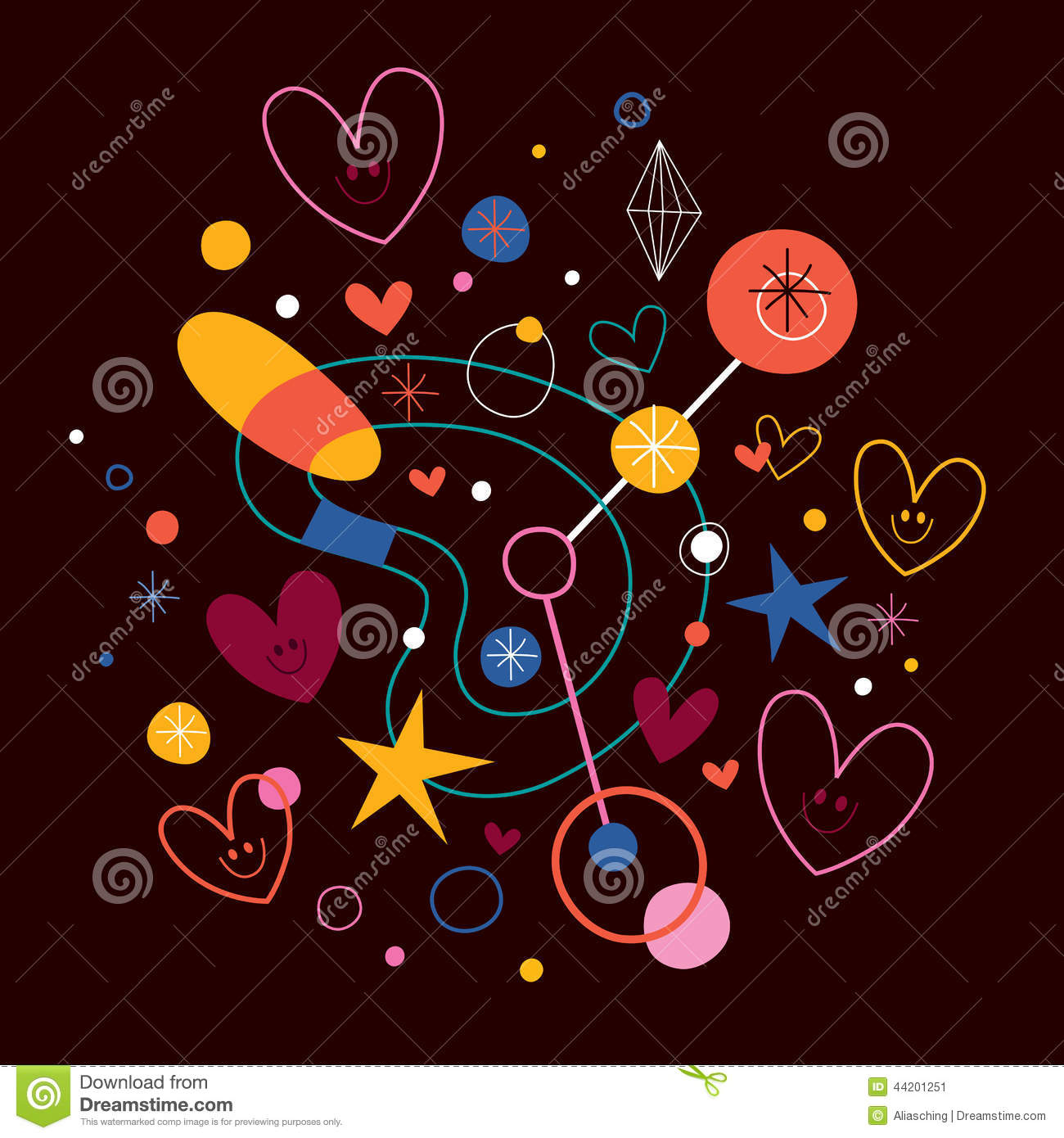 Abstract art illustration with cute hearts stock vector for Cute abstract art