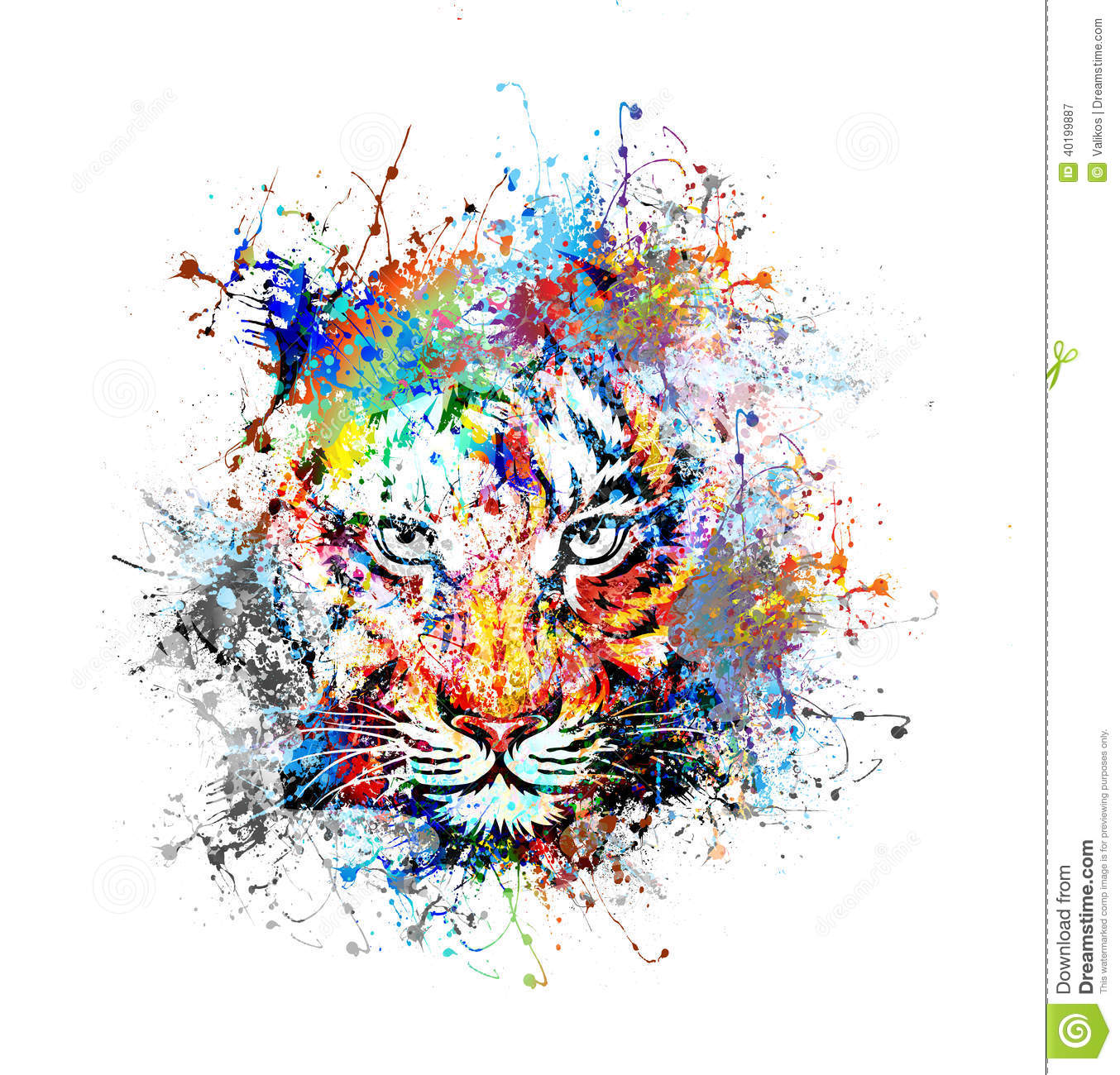 abstract art picture with tiger stock illustration - image: 40199887