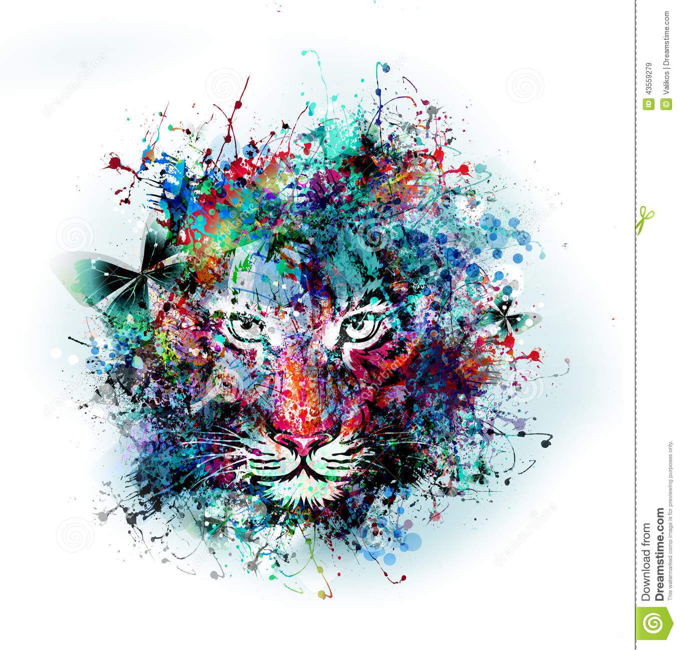 Art Illustration: Abstract Art Picture With Tiger Stock Illustration