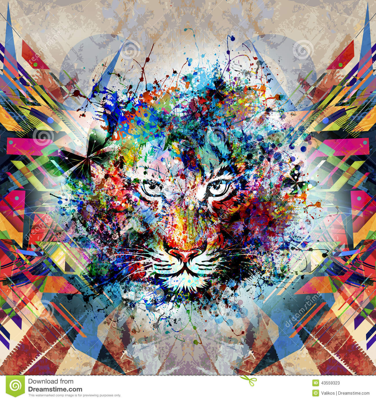 Download Abstract Art Picture With Tiger Stock Illustration