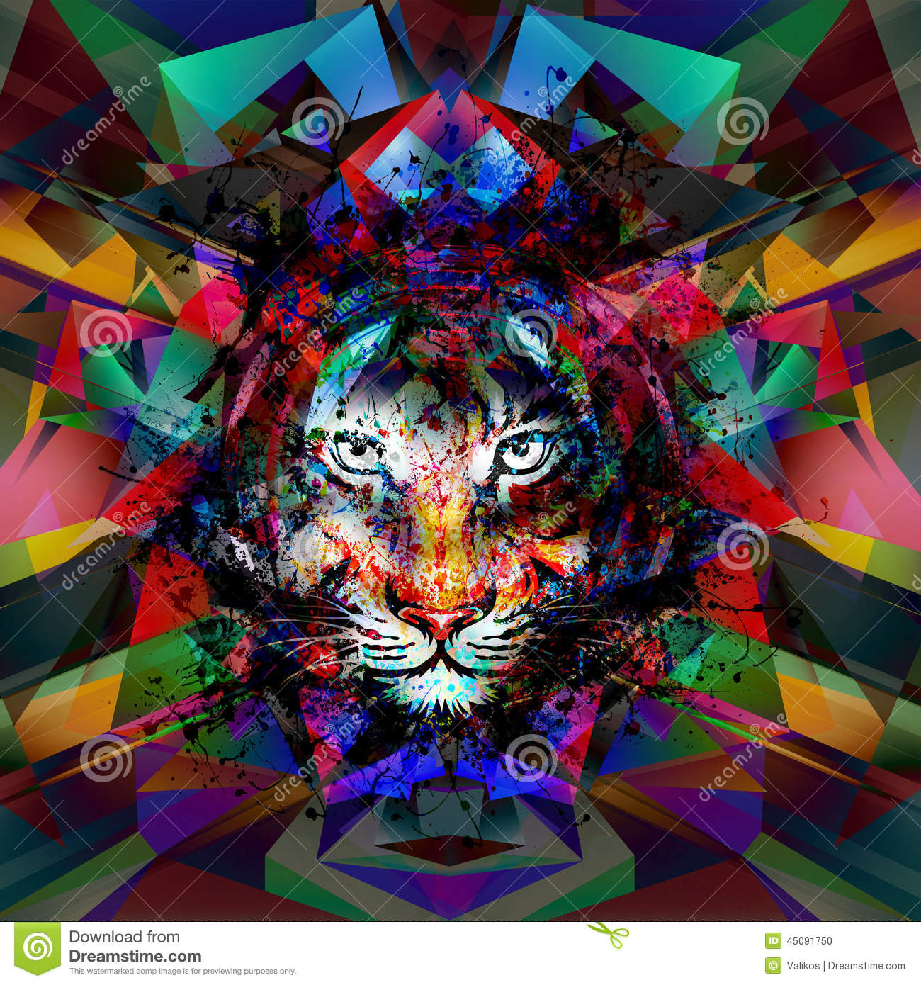 Abstract Art Picture With Tiger Stock Illustration - Image: 45091750