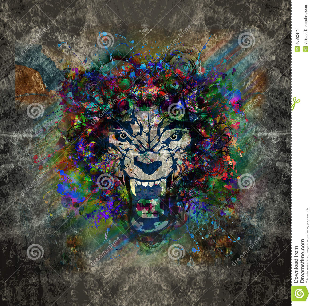 Abstract art picture with wolf
