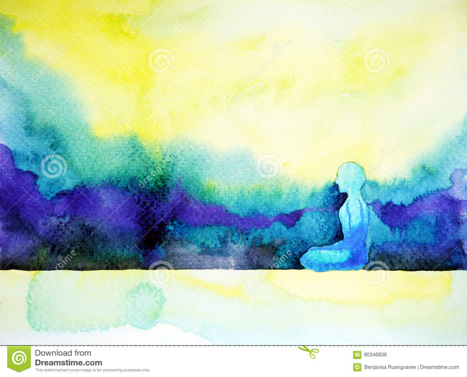 Abstract Art Watercolor Painting Human Meditating Calm Peace