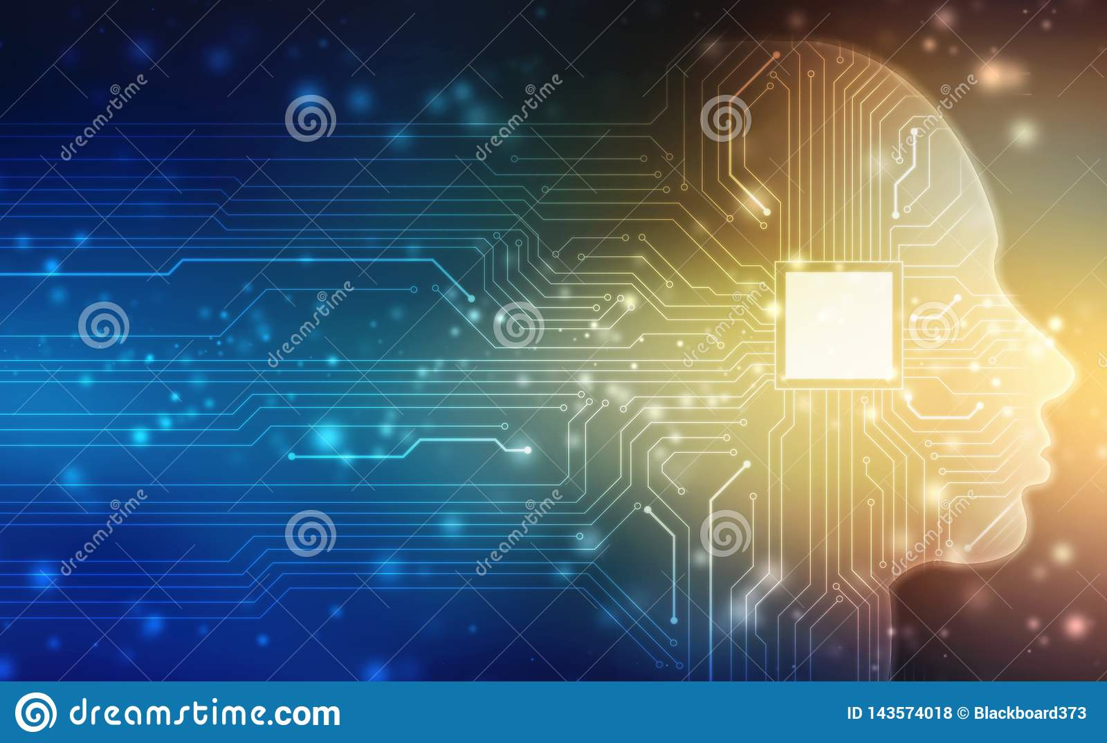 Abstract Artificial intelligence. Creative Brain Concept, Concept of thinking, Virtual concept, futuristic abstract background