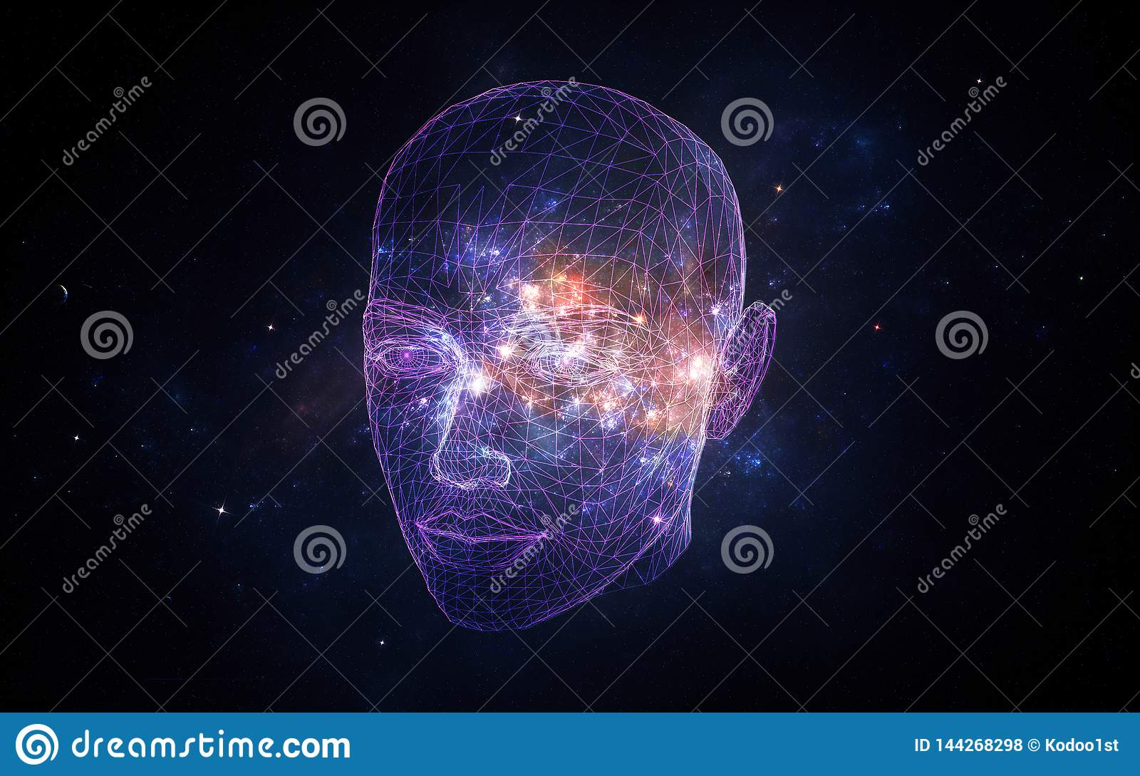 Abstract Artistic Artificial Intelligence Interface In A Nebula Background