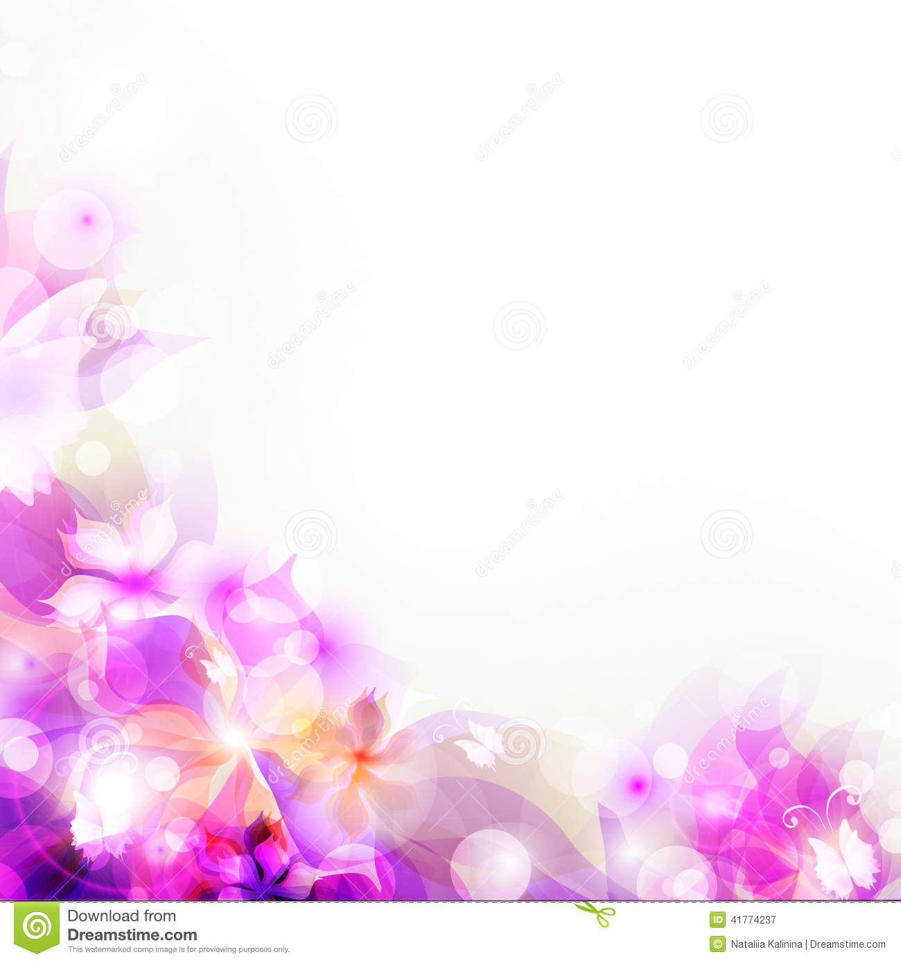 Abstract Flower Background With Decoration Elements For: Abstract Artistic Background With Purple Floral Stock