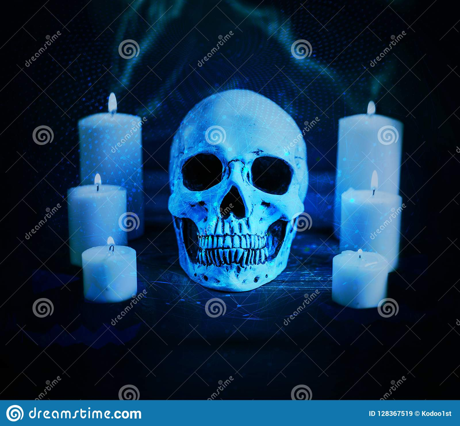 Abstract Artistic Cursed Skull Surrounded by Candles on a Cyan network Background