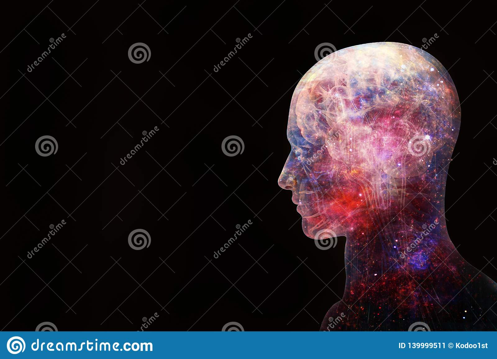 Abstract Artistic 3d Illustration Of A Modern Human Artificial Intelligent Interface On A Black Background