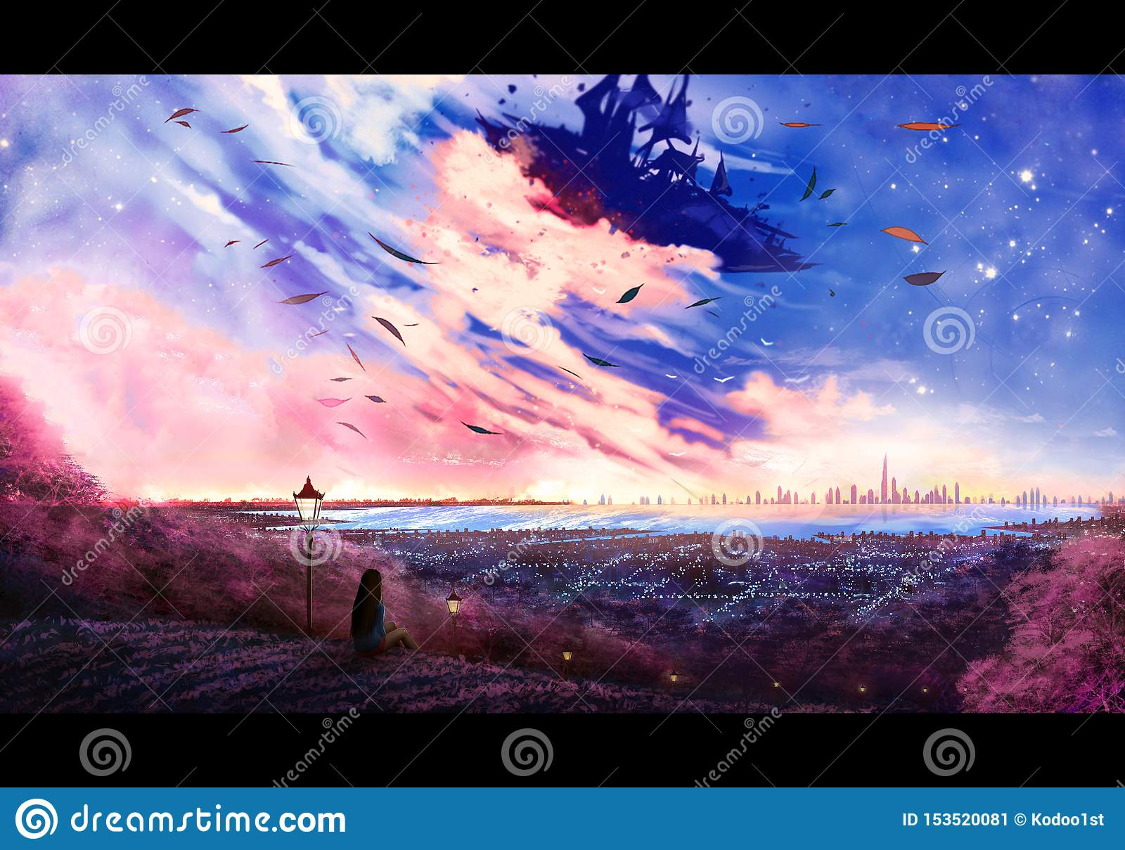 Abstract Artistic Digital Painting Illustration Of A Woman On A High Hill Looking At A Beautiful Sky