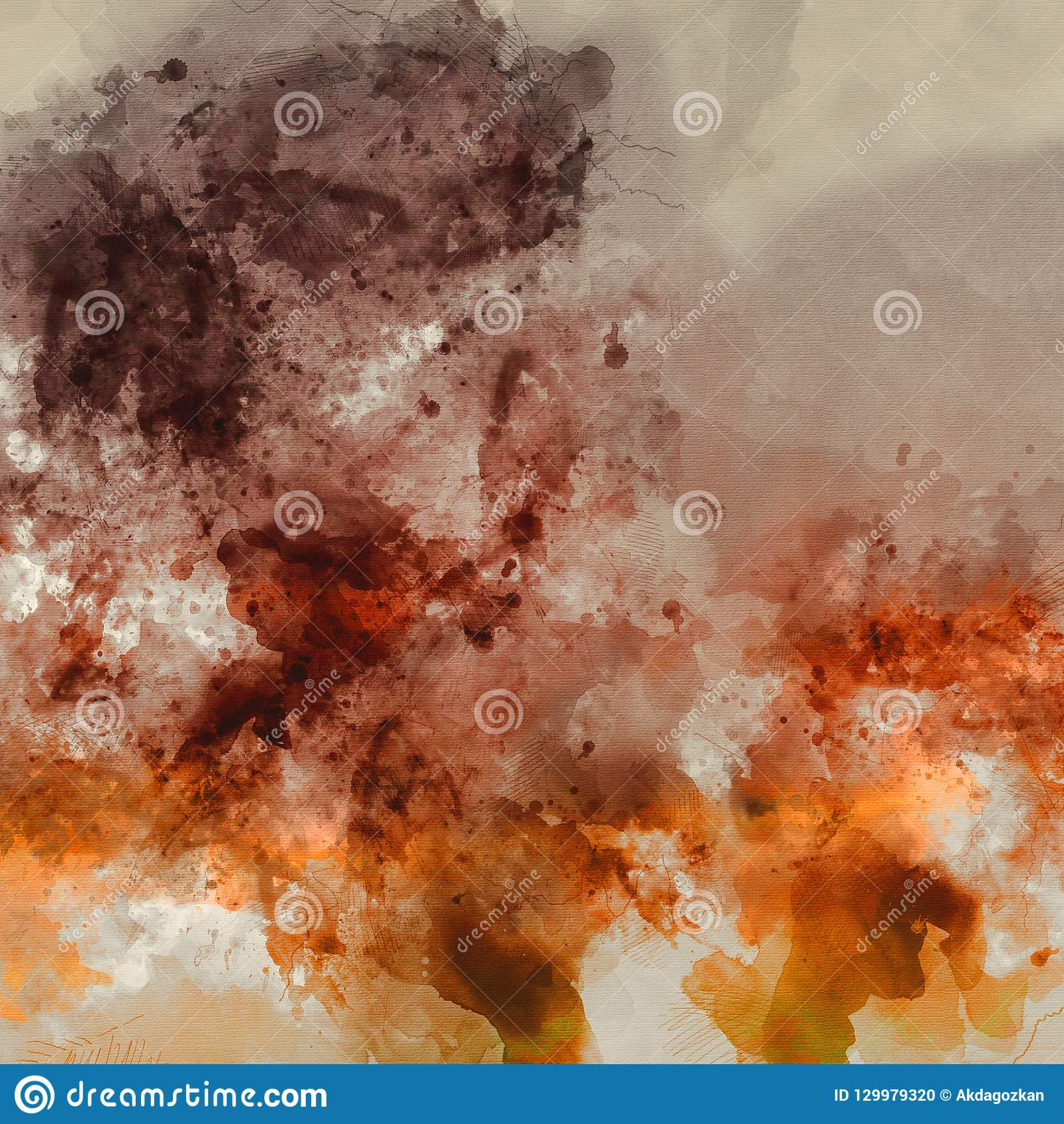Abstract Artistic High Resolution Digital Watercolor Painting with Vivid Orange and Brown Colors on Paper Texture