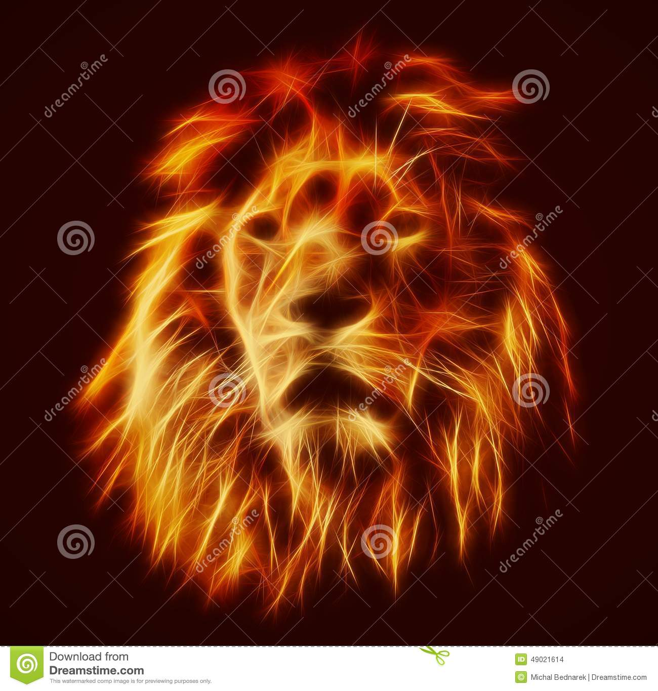 abstract artistic lion portrait fire flames fur stock