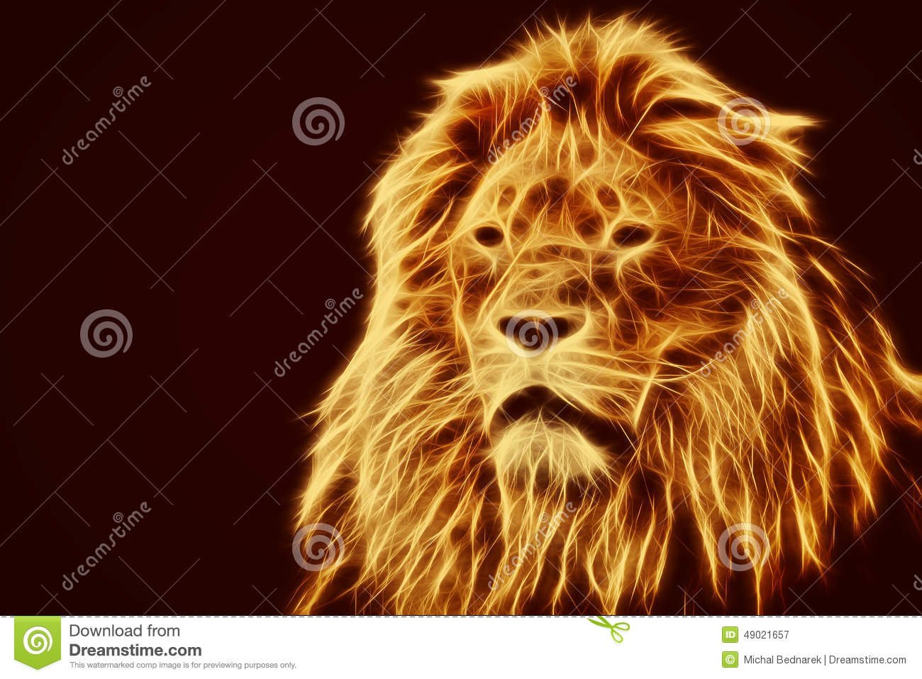 ... Artistic Lion Portrait. Fire Flames Fur Stock Photo - Image: 49021657