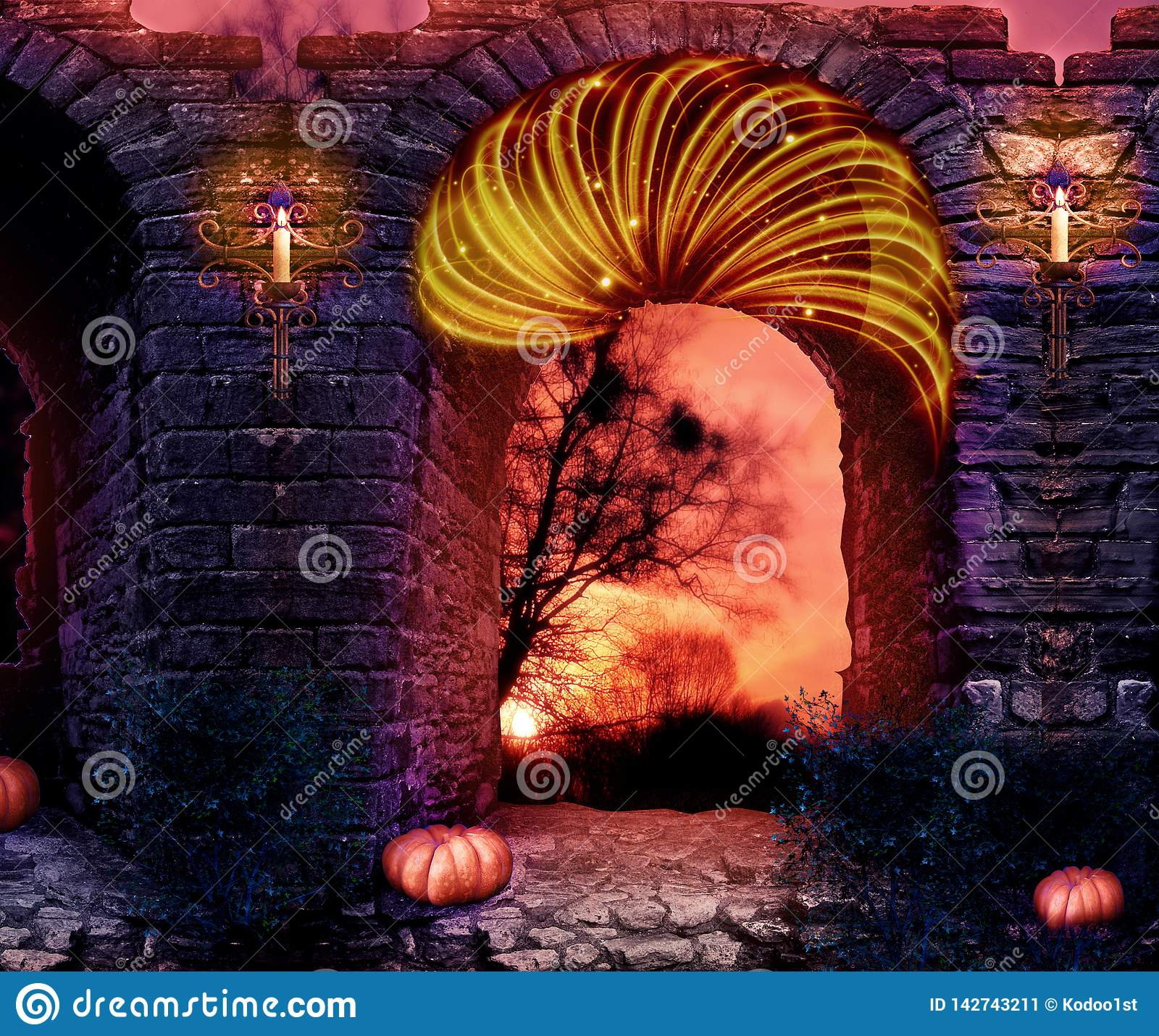 Abstract artistic 3d rendering illustration of a castle wall on a colorful red sky background