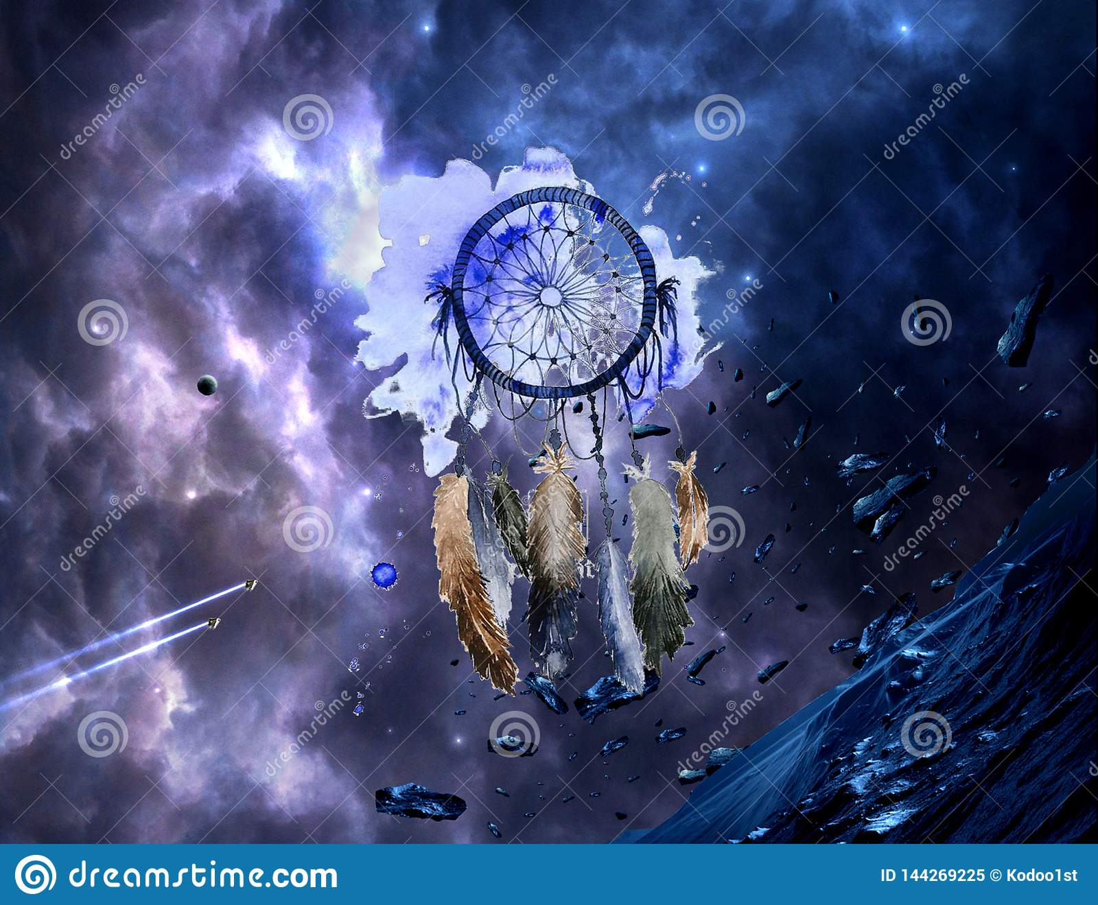 abstract artistic watercolor multicolored dream catcher colorful nebula galactic artwork background galaxy 144269225