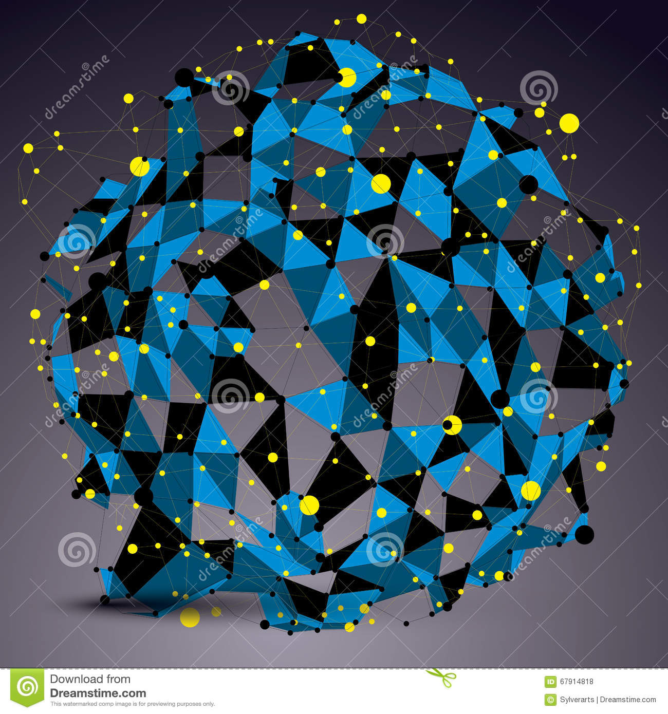 Abstract Asymmetric Vector Blue Structure With Yellow Wire Mesh ...