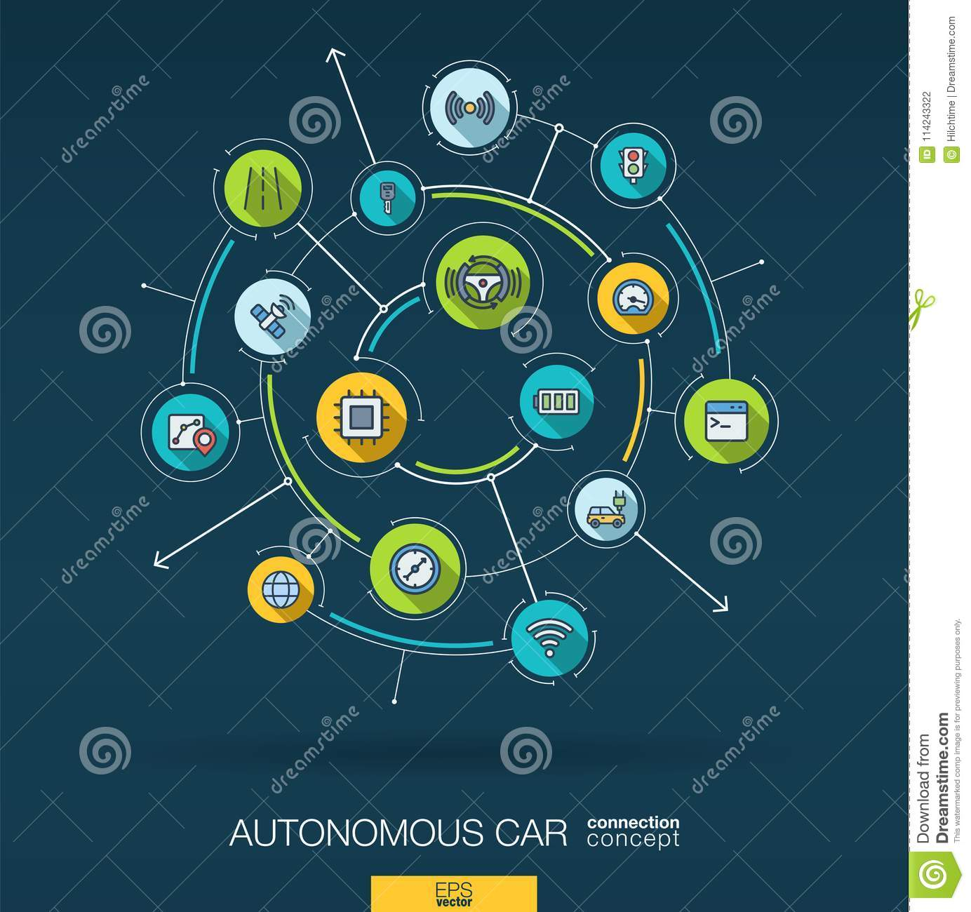 Abstract autonomous electric car, self-driving, autopilot background. Digital connect system with integrated circles