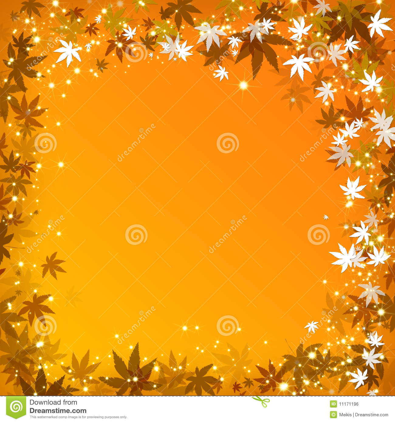 Abstract Autumn Leaves Golden Background Royalty Free
