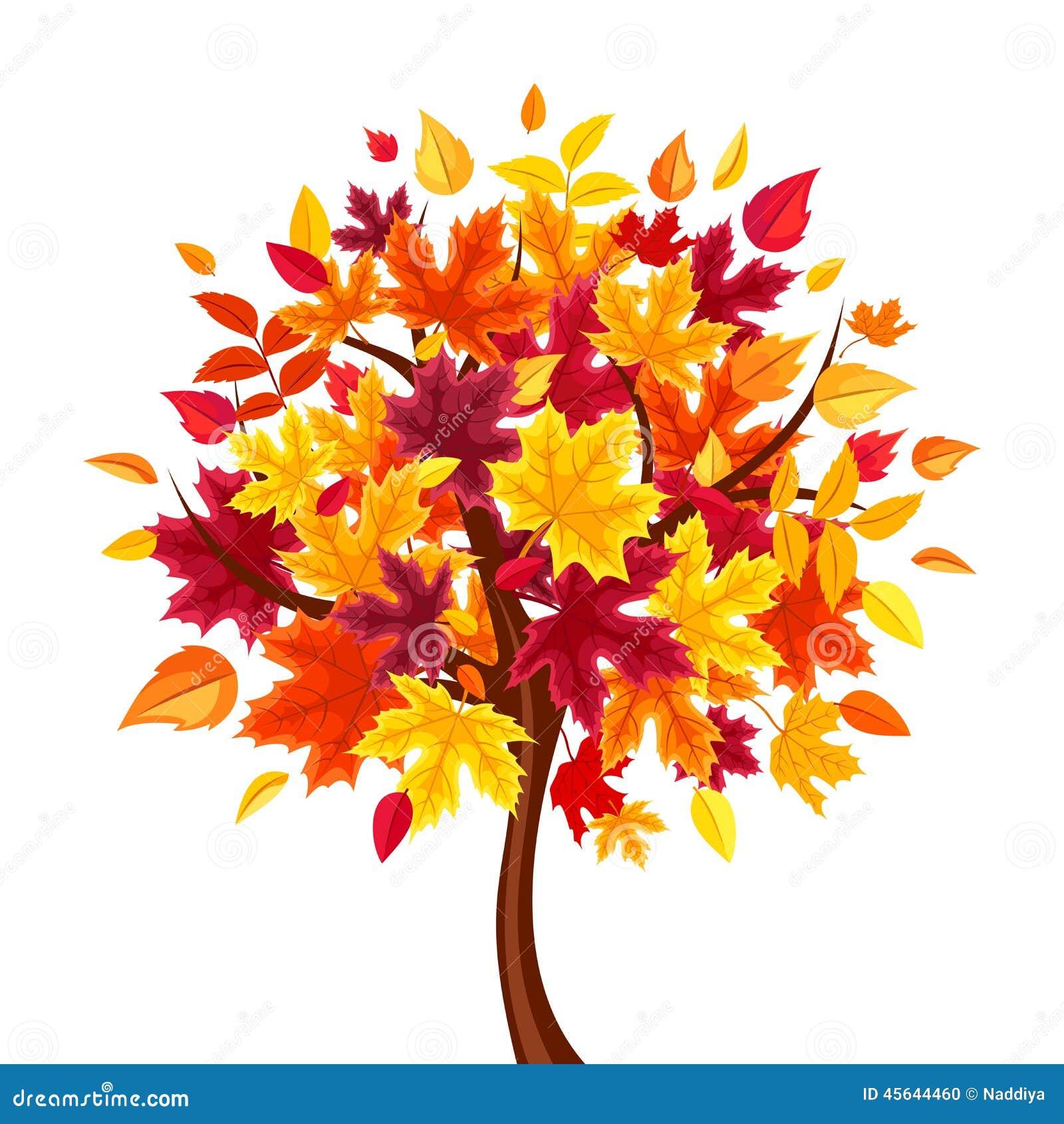 Abstract autumn tree. Vector illustration.