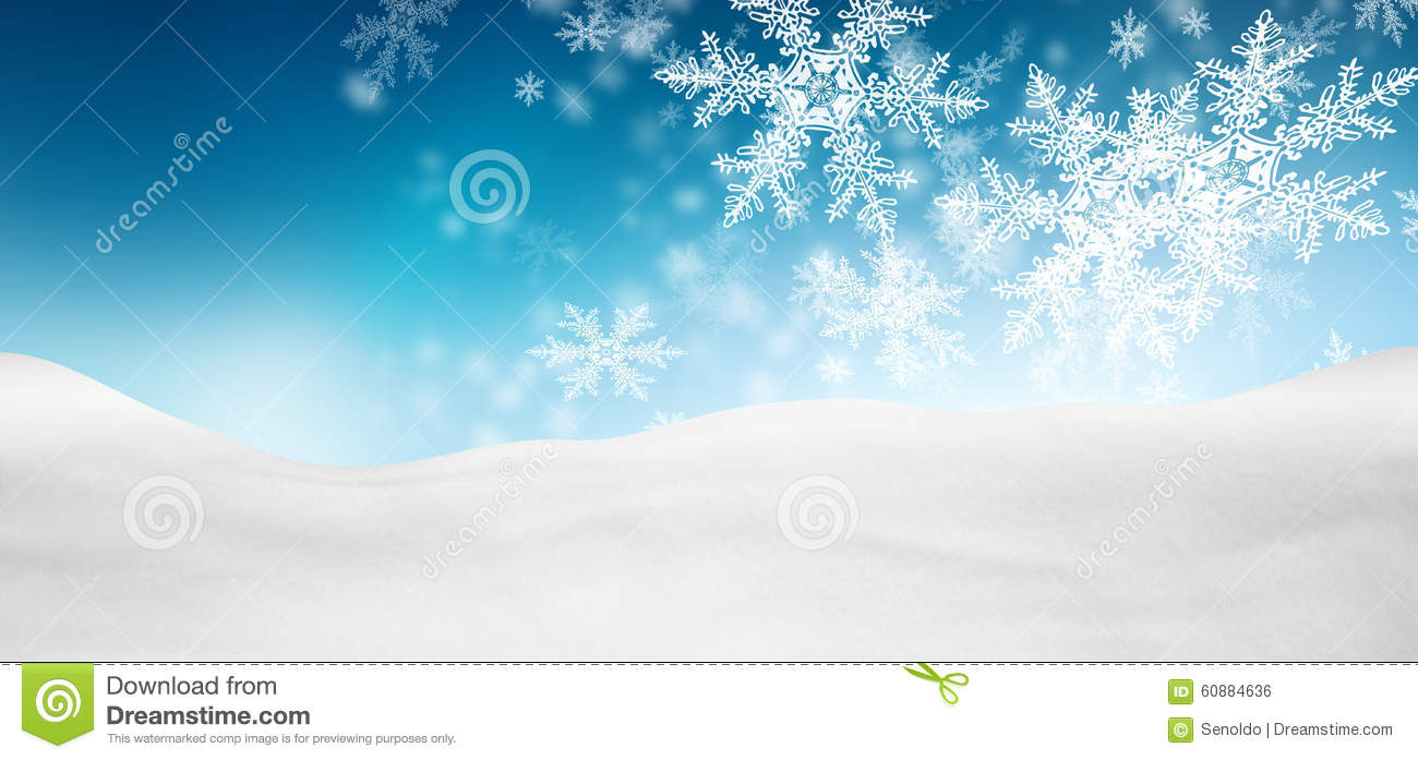 Abstract Azure Blue Background Panorama Winter Landscape with Fa