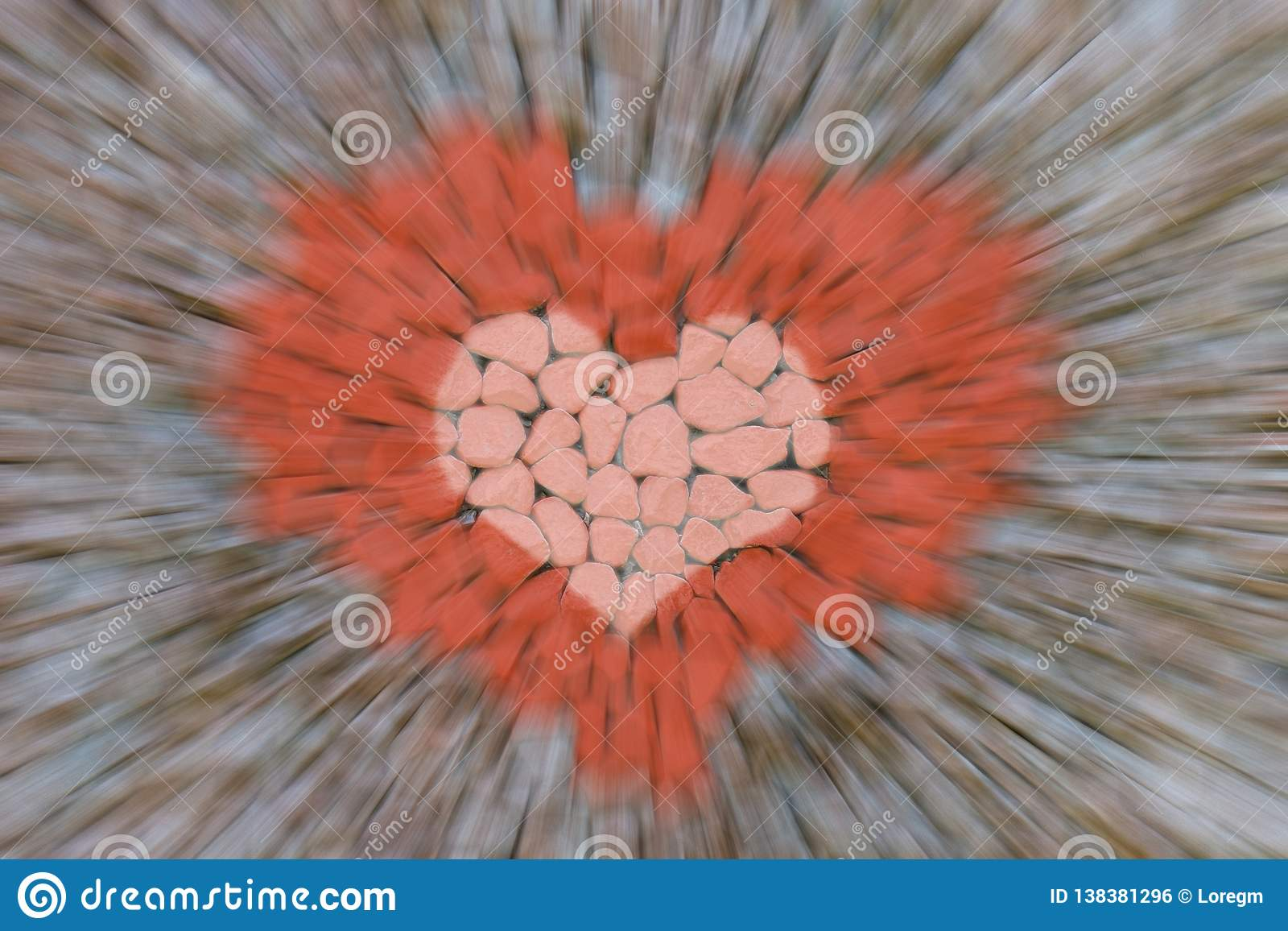 Abstract background acceleration motion blur lines fast approaching red image symbol of love craft design stone