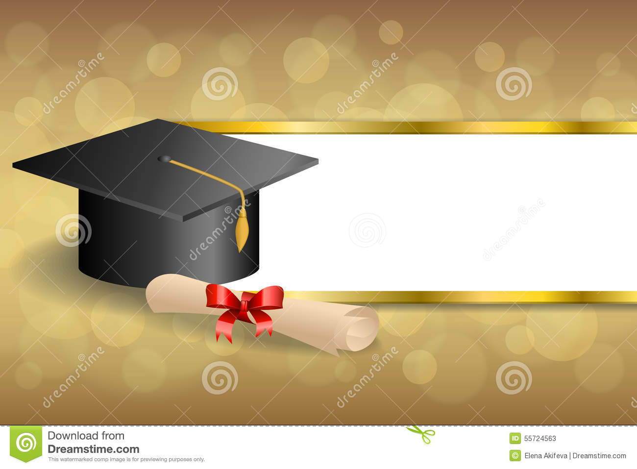Abstract Background Beige Education Graduation Cap Diploma Red Bow ...