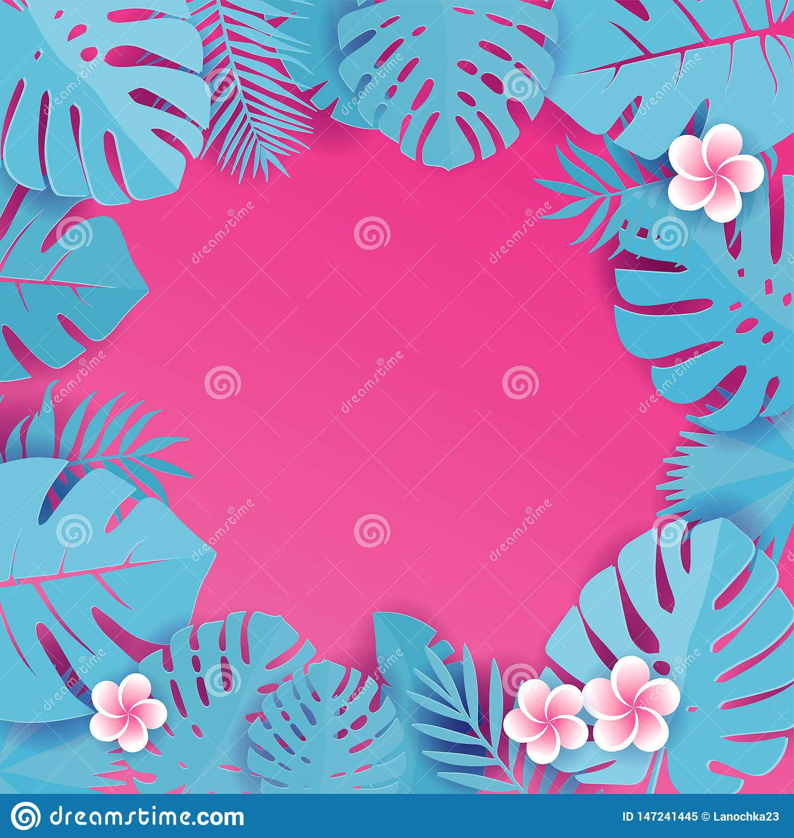 Abstract background with blue cyan tropical leaves. Jungle patternwith frangipani flowers. Floral caper cut design background.