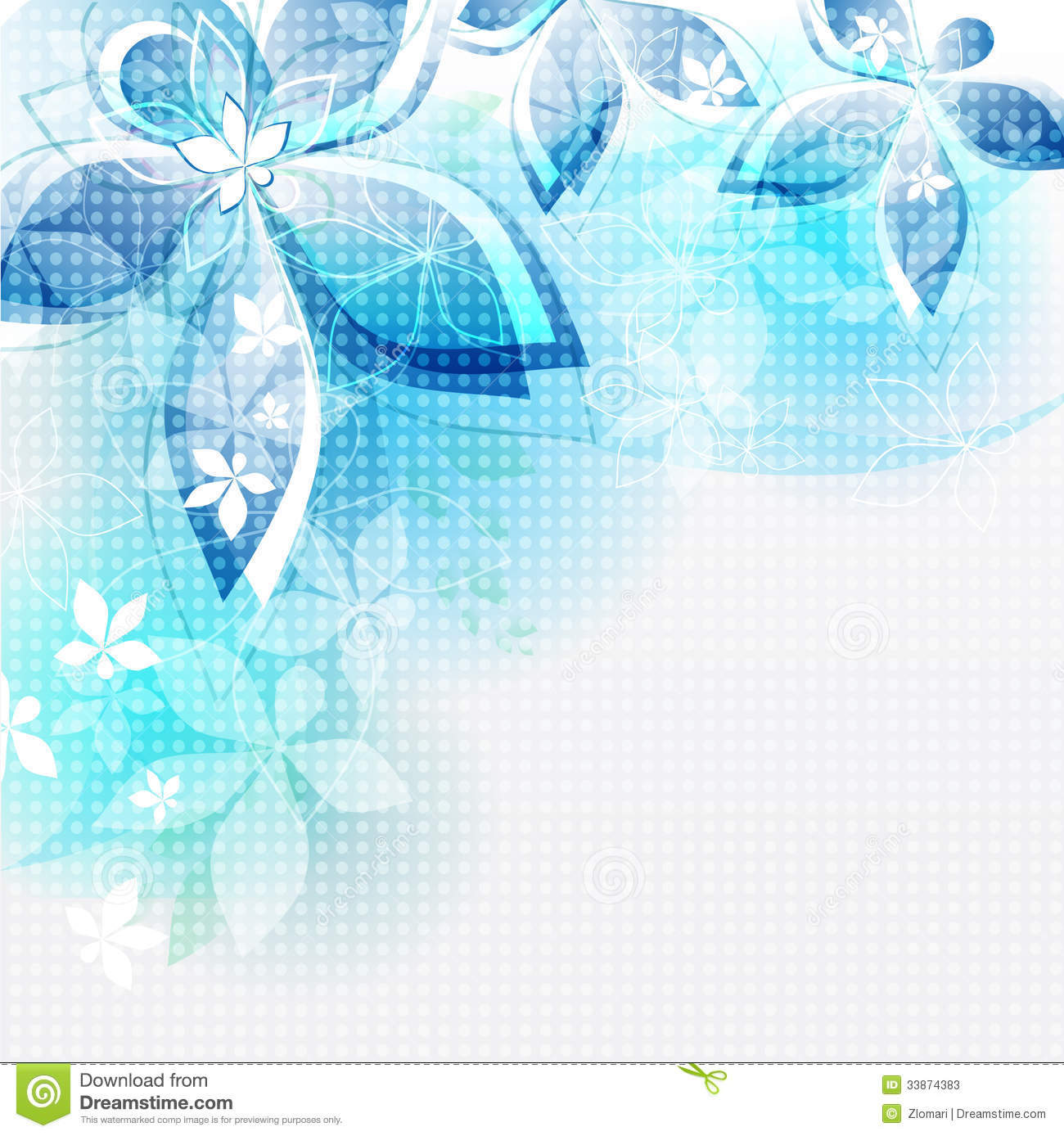 Abstract Flower Background With Decoration Elements For: Abstract Background Blue Flowers. Vector Illustrat Stock