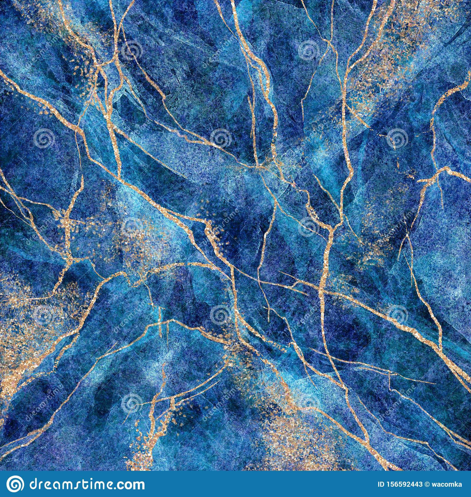 Abstract Background Blue Marble With Gold Glitter Veins Fake Stone Texture Painted Artificial Marbled Surface Fashion Marbling Stock Illustration Illustration Of Detail Drawn 156592443