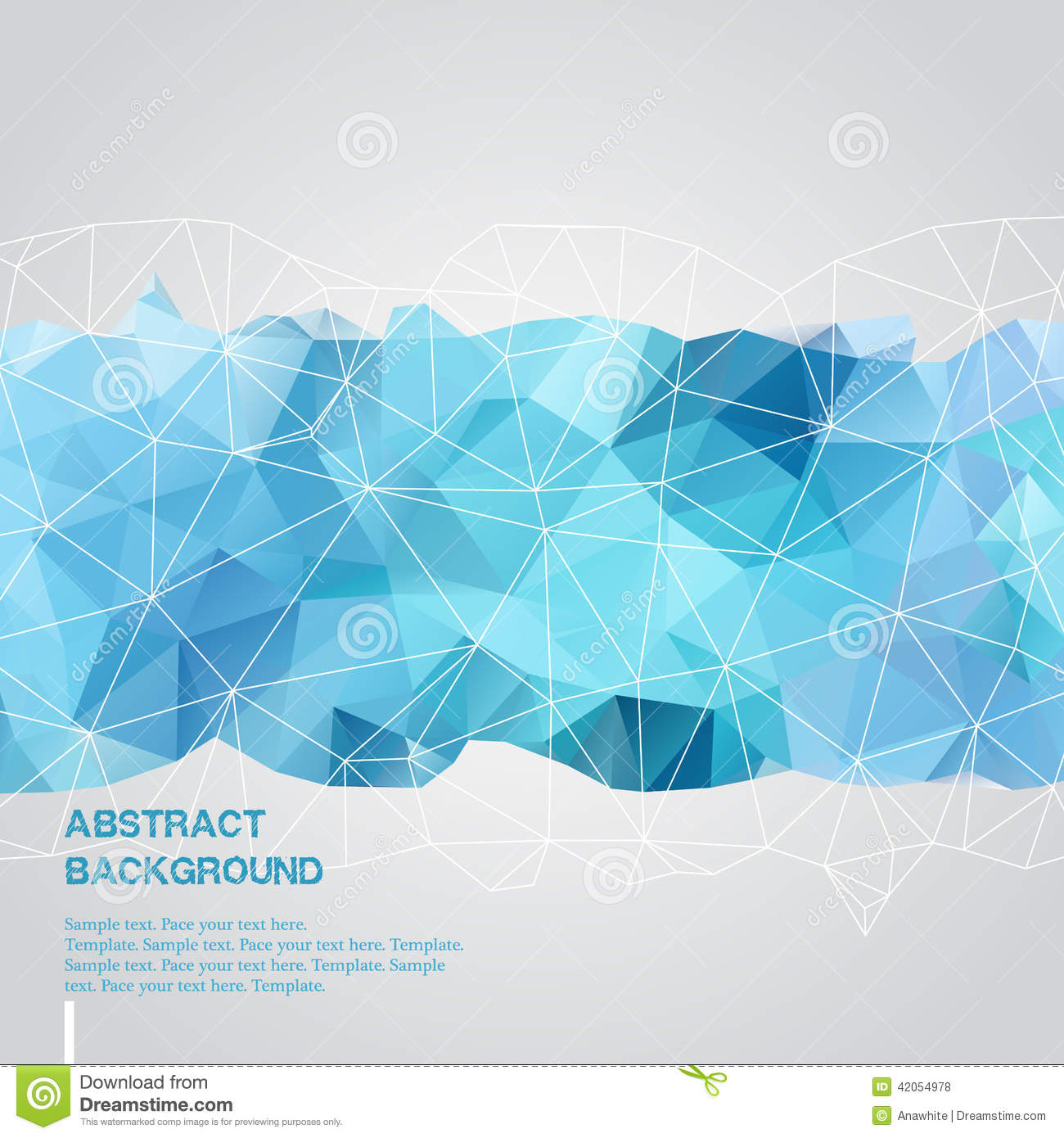 Abstract Background With Blue Triangles Template Stock