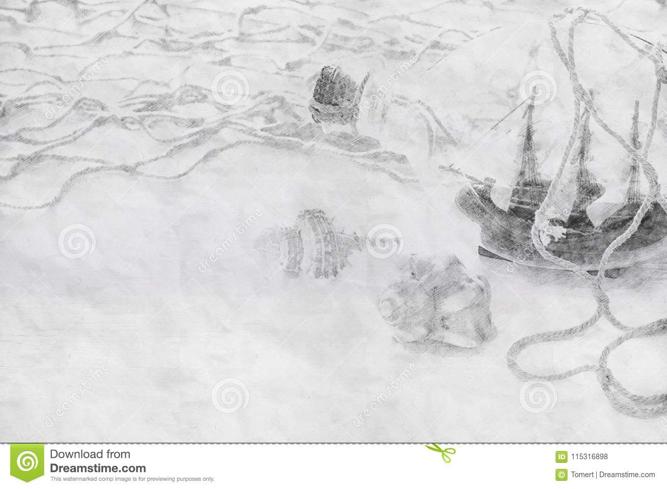 Abstract background of boat in the bottle pencil sketch painting style black and white